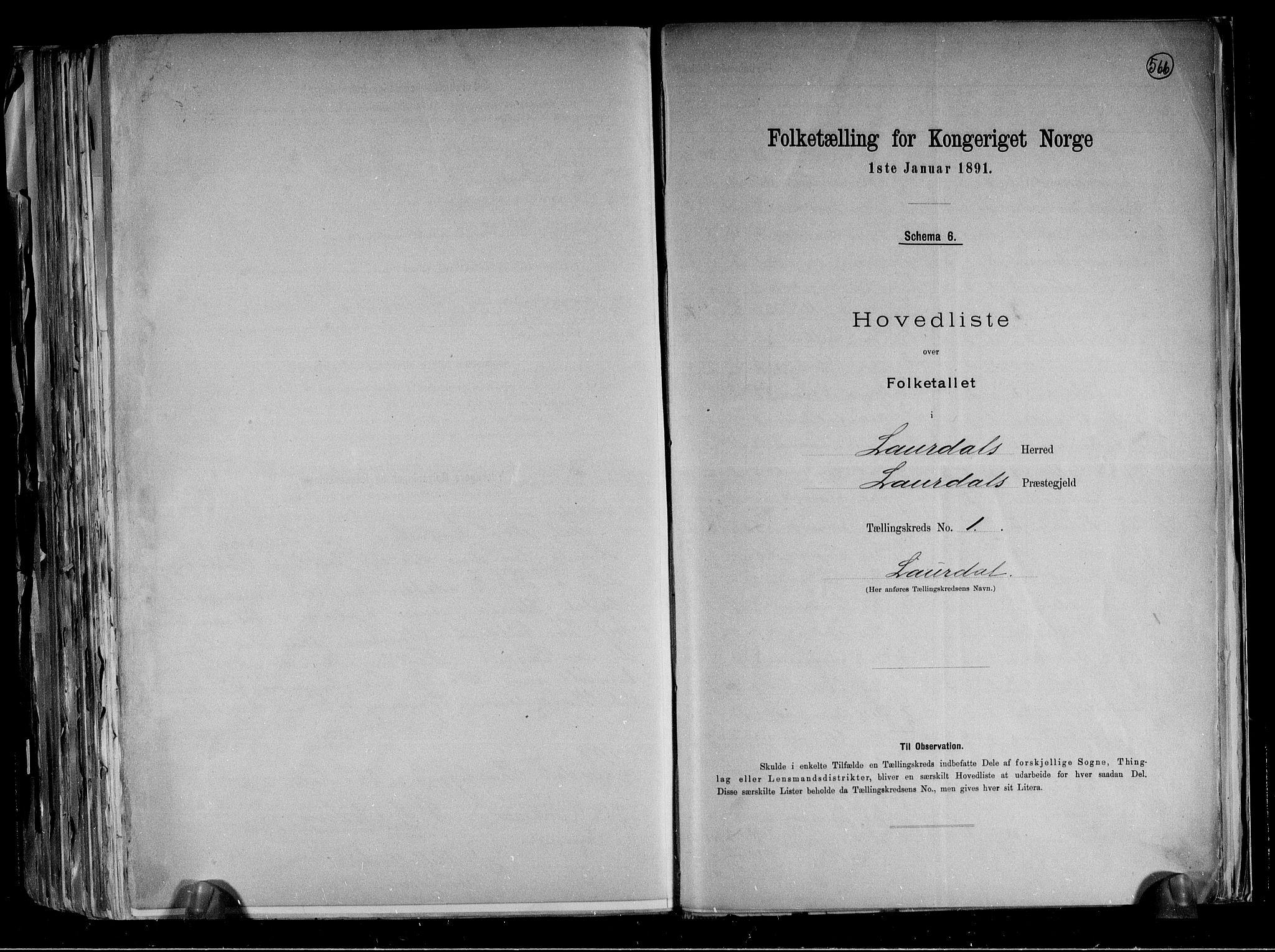 RA, Folketelling 1891 for 0833 Lårdal herred, 1891, s. 4
