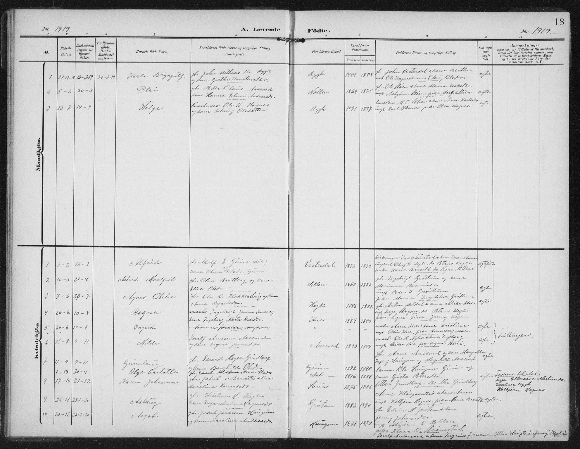 SAT, Ministerialprotokoller, klokkerbøker og fødselsregistre - Nord-Trøndelag, 747/L0460: Klokkerbok nr. 747C02, 1908-1939, s. 18