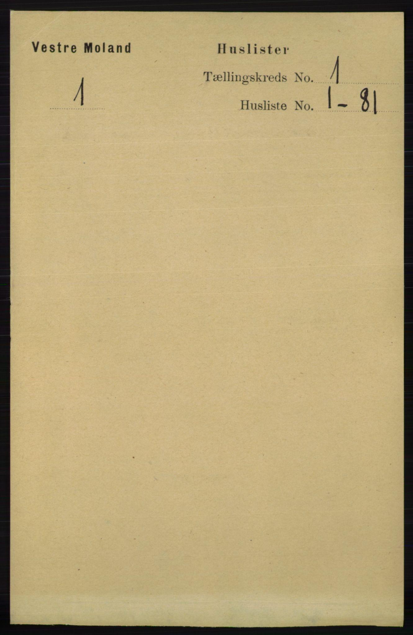 RA, Folketelling 1891 for 0926 Vestre Moland herred, 1891, s. 23