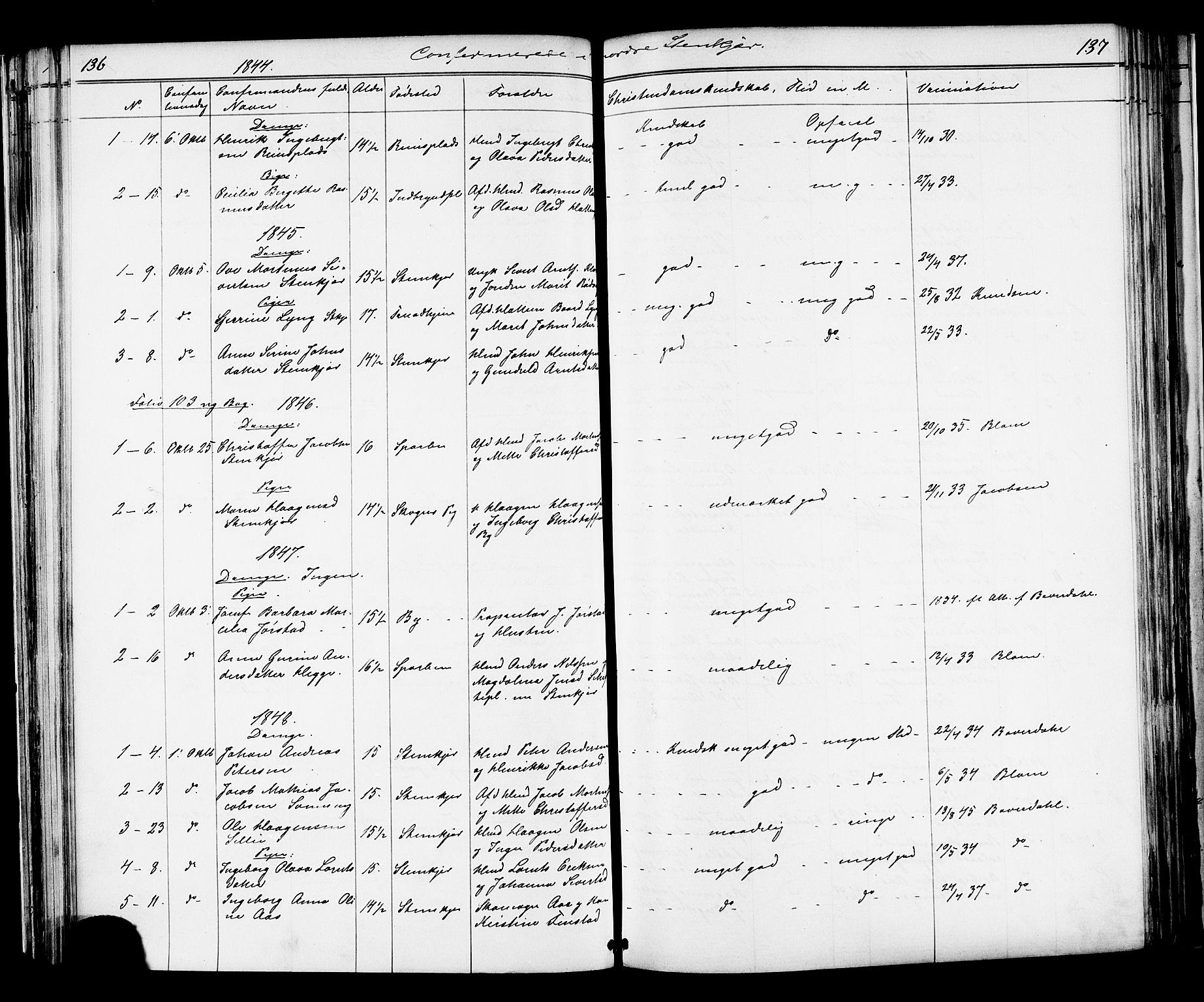 SAT, Ministerialprotokoller, klokkerbøker og fødselsregistre - Nord-Trøndelag, 739/L0367: Ministerialbok nr. 739A01 /2, 1838-1868, s. 136-137