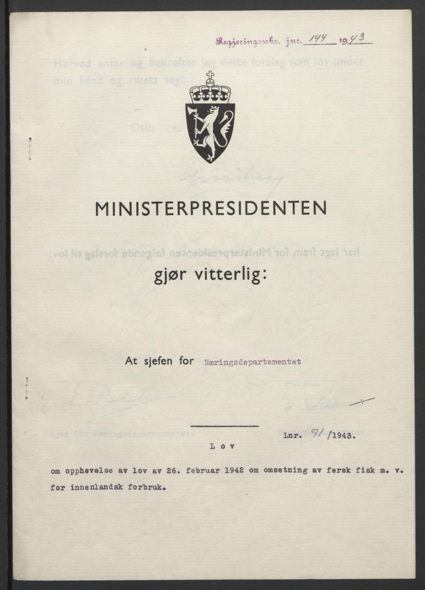 RA, NS-administrasjonen 1940-1945 (Statsrådsekretariatet, de kommisariske statsråder mm), D/Db/L0099: Lover, 1943, s. 324