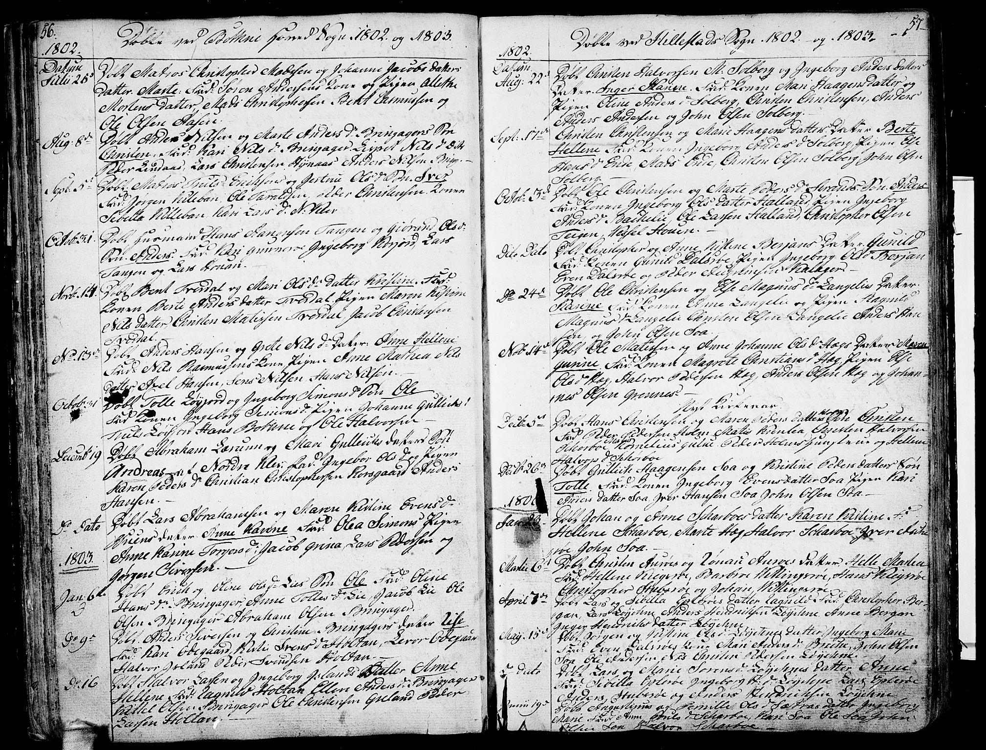 SAKO, Botne kirkebøker, F/Fa/L0003: Ministerialbok nr. I 3 /1, 1792-1844, s. 56-57