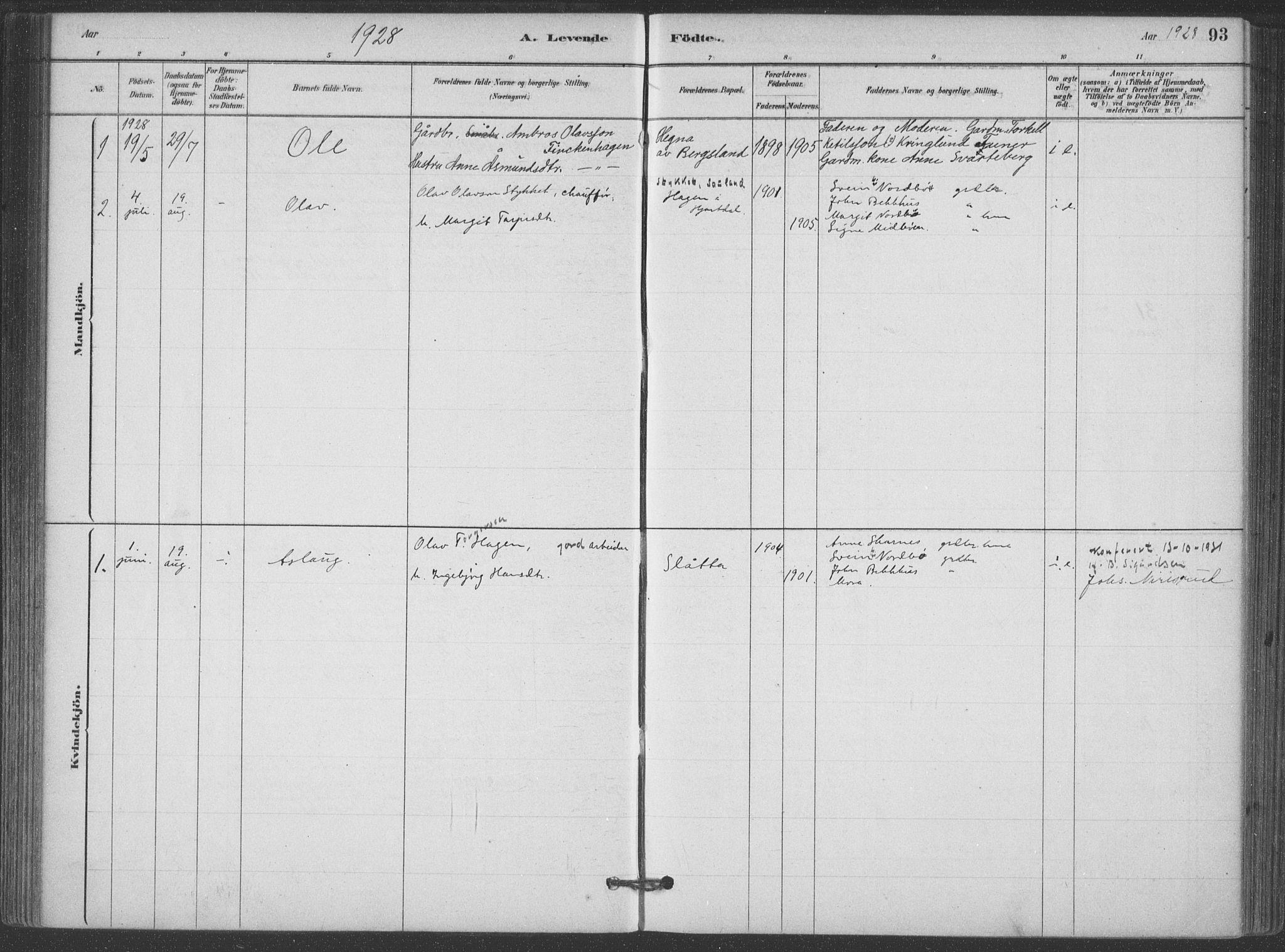 SAKO, Hjartdal kirkebøker, F/Fa/L0010: Ministerialbok nr. I 10, 1880-1929, s. 93