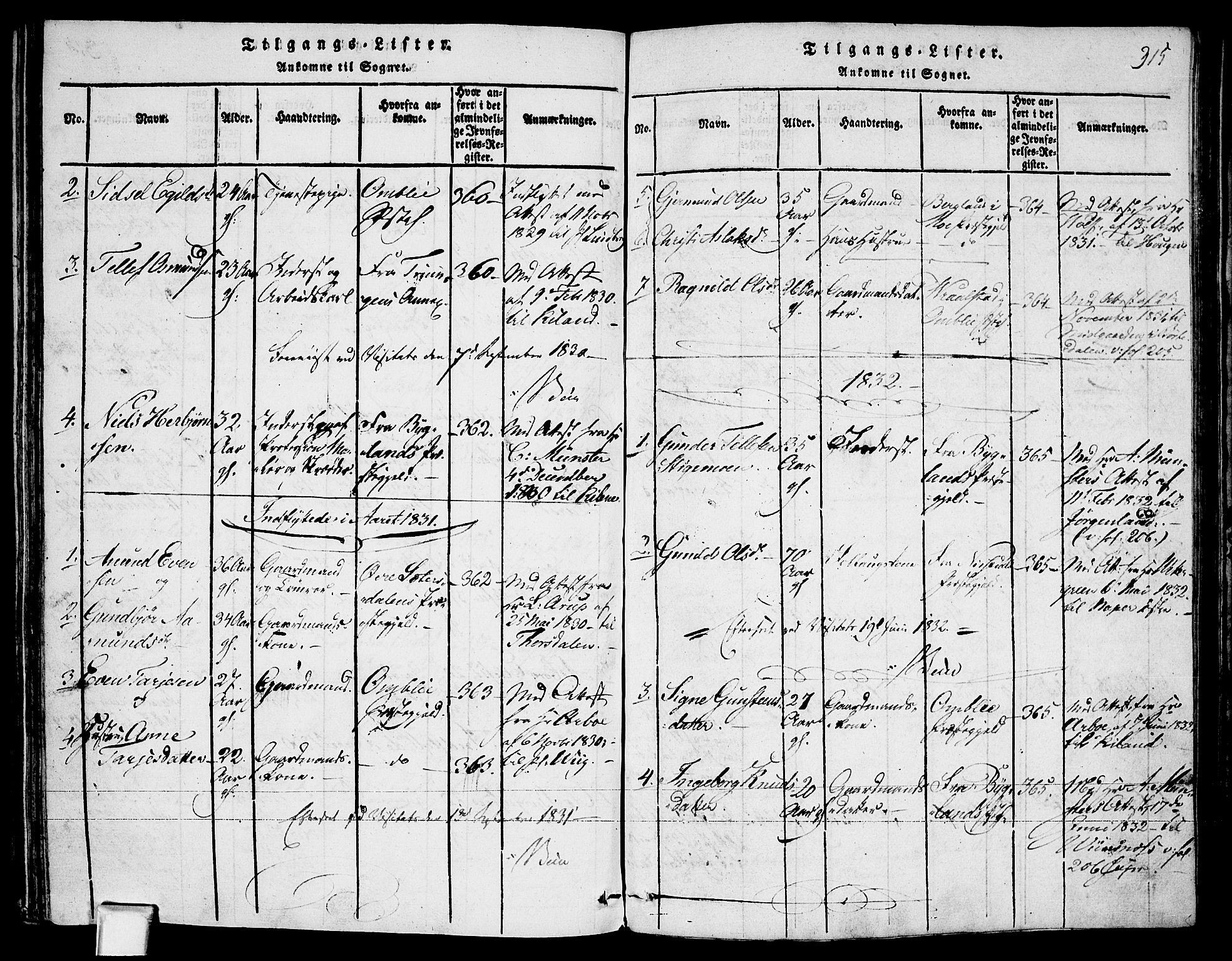 SAKO, Fyresdal kirkebøker, F/Fa/L0003: Ministerialbok nr. I 3, 1815-1840, s. 315