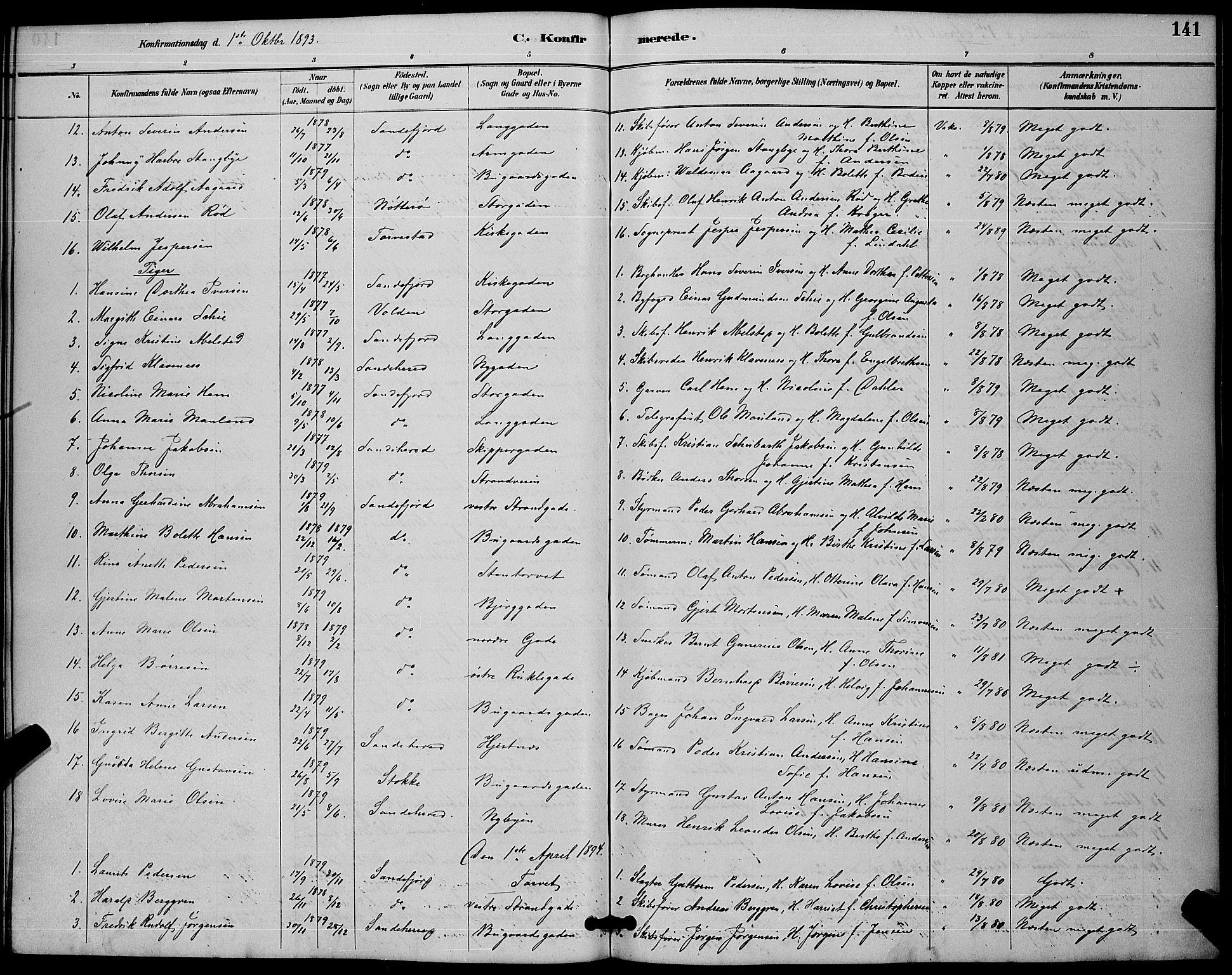 SAKO, Sandefjord kirkebøker, G/Ga/L0001: Klokkerbok nr. 1, 1885-1903, s. 141