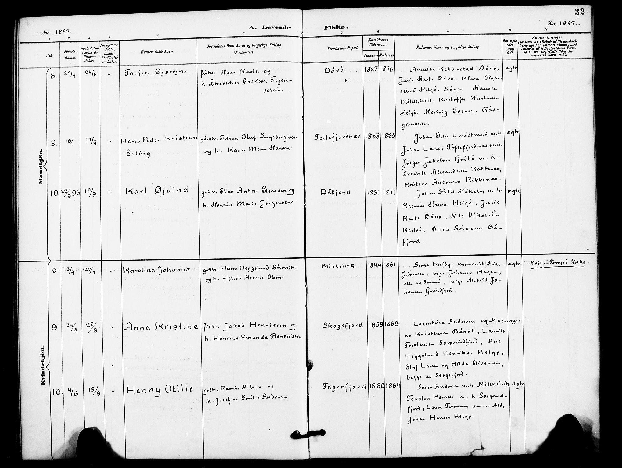 SATØ, Karlsøy sokneprestembete, H/Ha/Haa/L0012kirke: Ministerialbok nr. 12, 1892-1902, s. 32