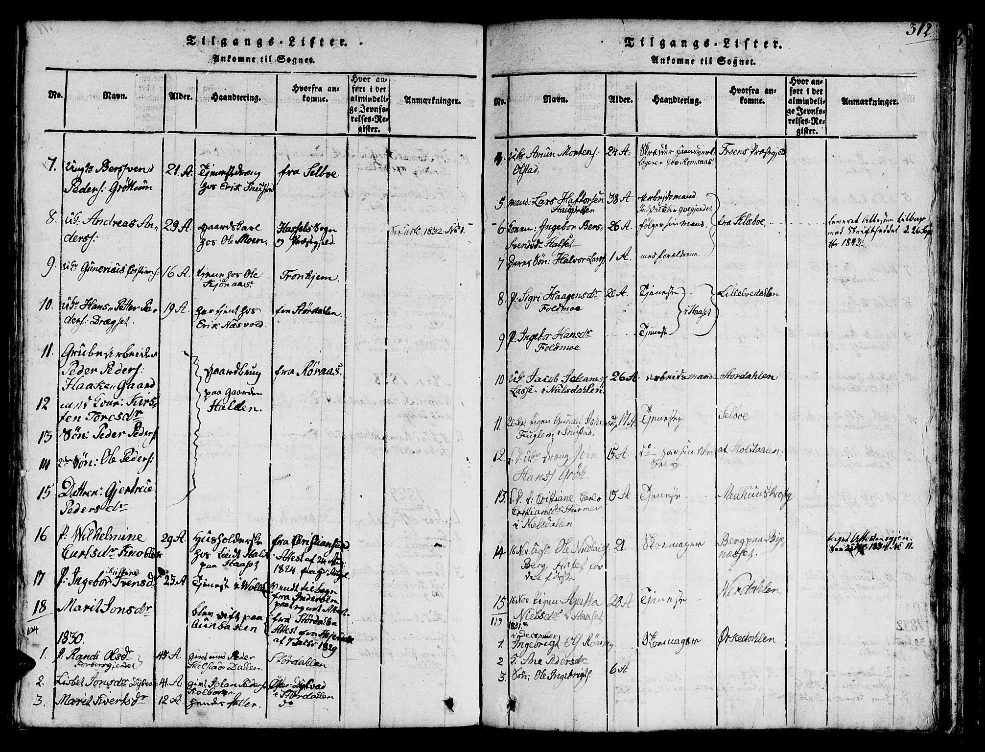 SAT, Ministerialprotokoller, klokkerbøker og fødselsregistre - Sør-Trøndelag, 616/L0420: Klokkerbok nr. 616C03, 1817-1835, s. 312