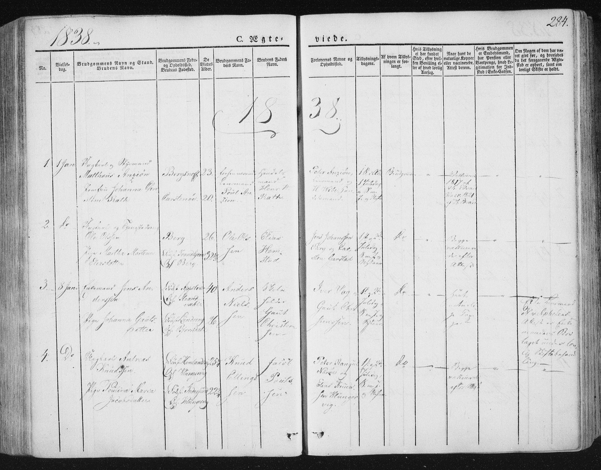 SAT, Ministerialprotokoller, klokkerbøker og fødselsregistre - Nord-Trøndelag, 784/L0669: Ministerialbok nr. 784A04, 1829-1859, s. 284