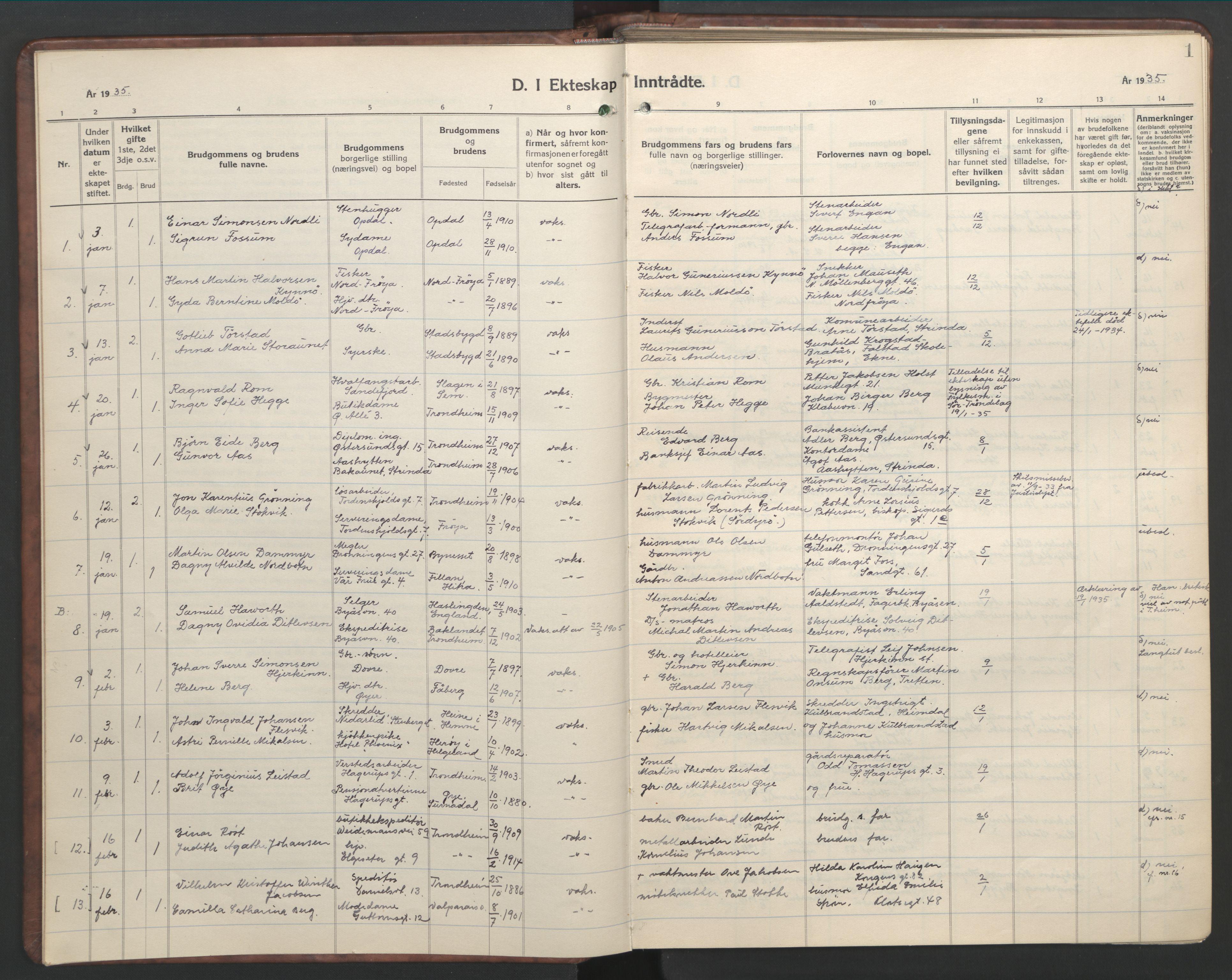 SAT, Ministerialprotokoller, klokkerbøker og fødselsregistre - Sør-Trøndelag, 601/L0101: Klokkerbok nr. 601C19, 1935-1946, s. 1