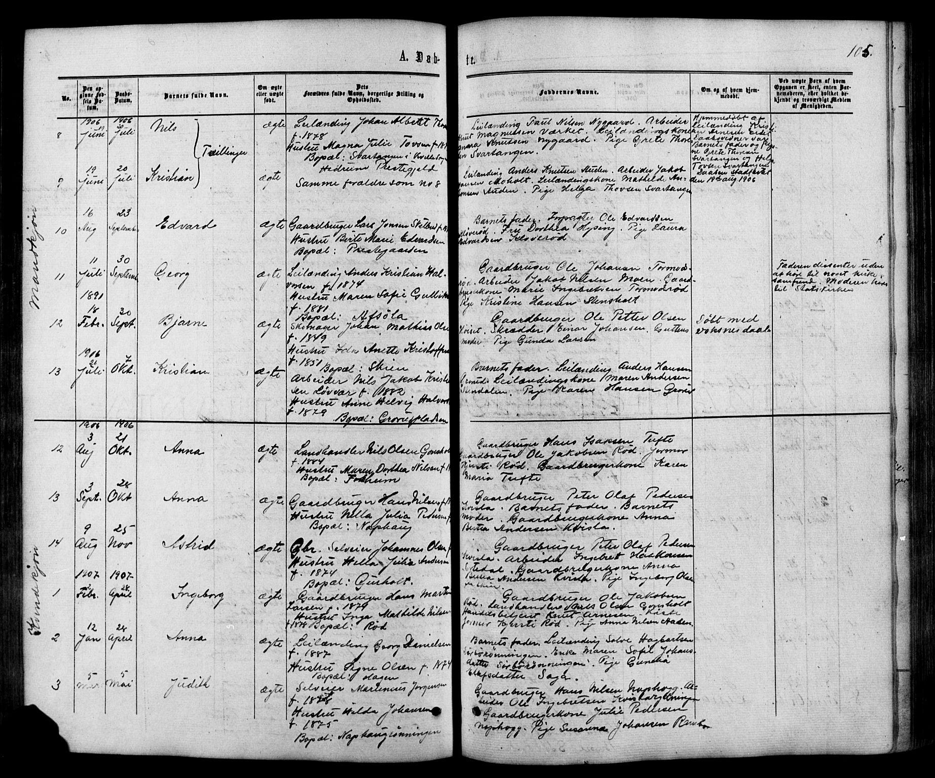 SAKO, Siljan kirkebøker, G/Ga/L0002: Klokkerbok nr. 2, 1864-1908, s. 105