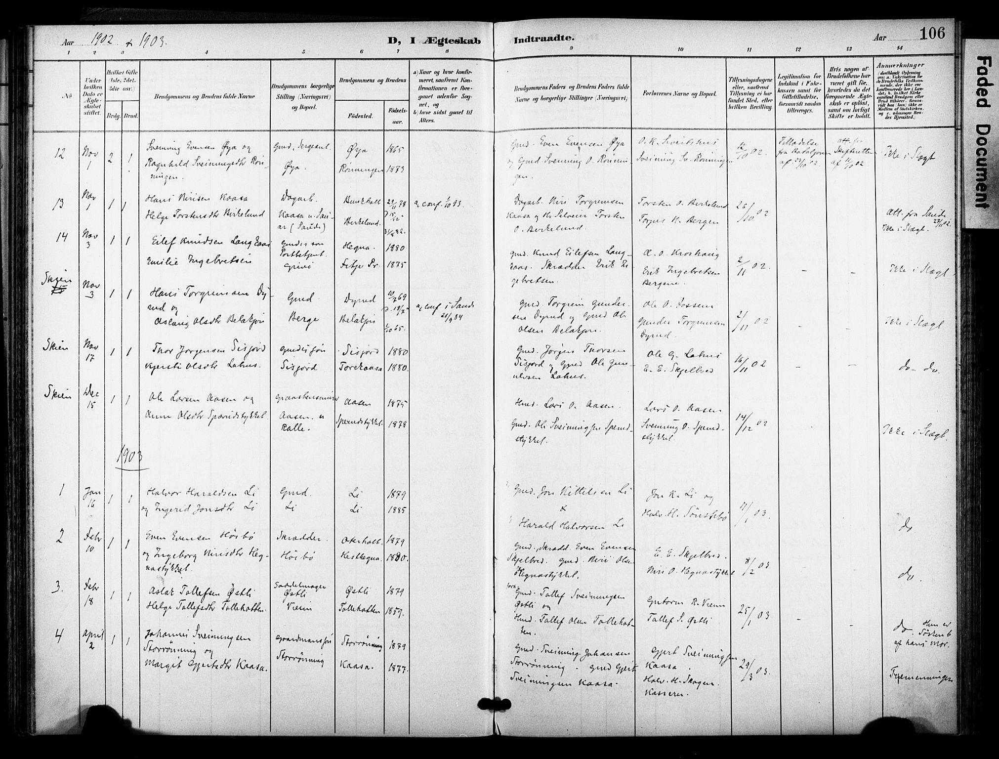 SAKO, Bø kirkebøker, F/Fa/L0012: Ministerialbok nr. 12, 1900-1908, s. 106