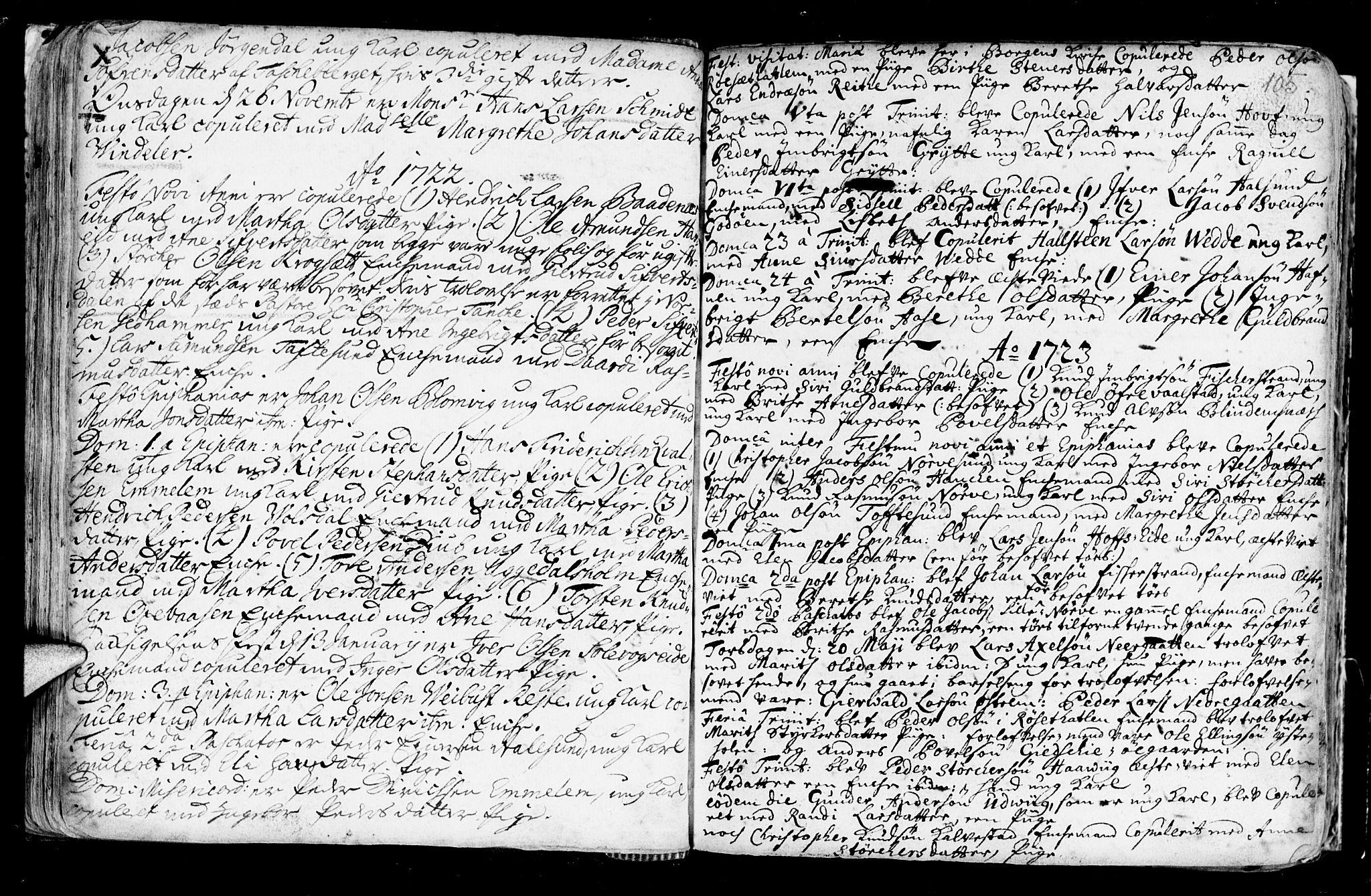 SAT, Ministerialprotokoller, klokkerbøker og fødselsregistre - Møre og Romsdal, 528/L0390: Ministerialbok nr. 528A01, 1698-1739, s. 104-105