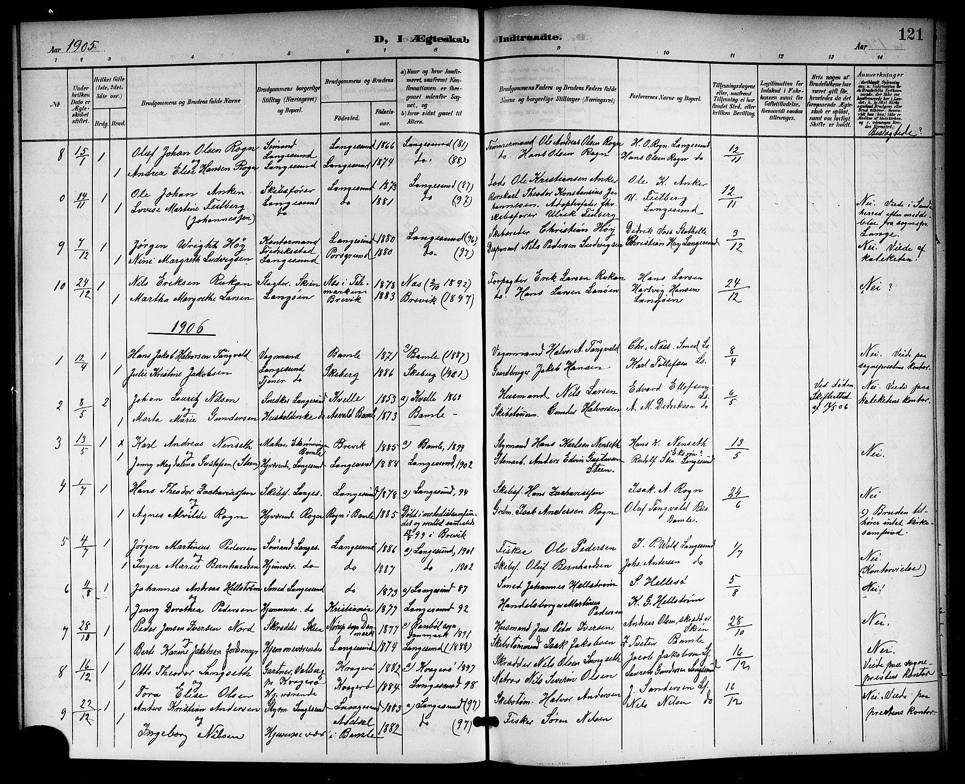 SAKO, Langesund kirkebøker, G/Ga/L0006: Klokkerbok nr. 6, 1899-1918, s. 121