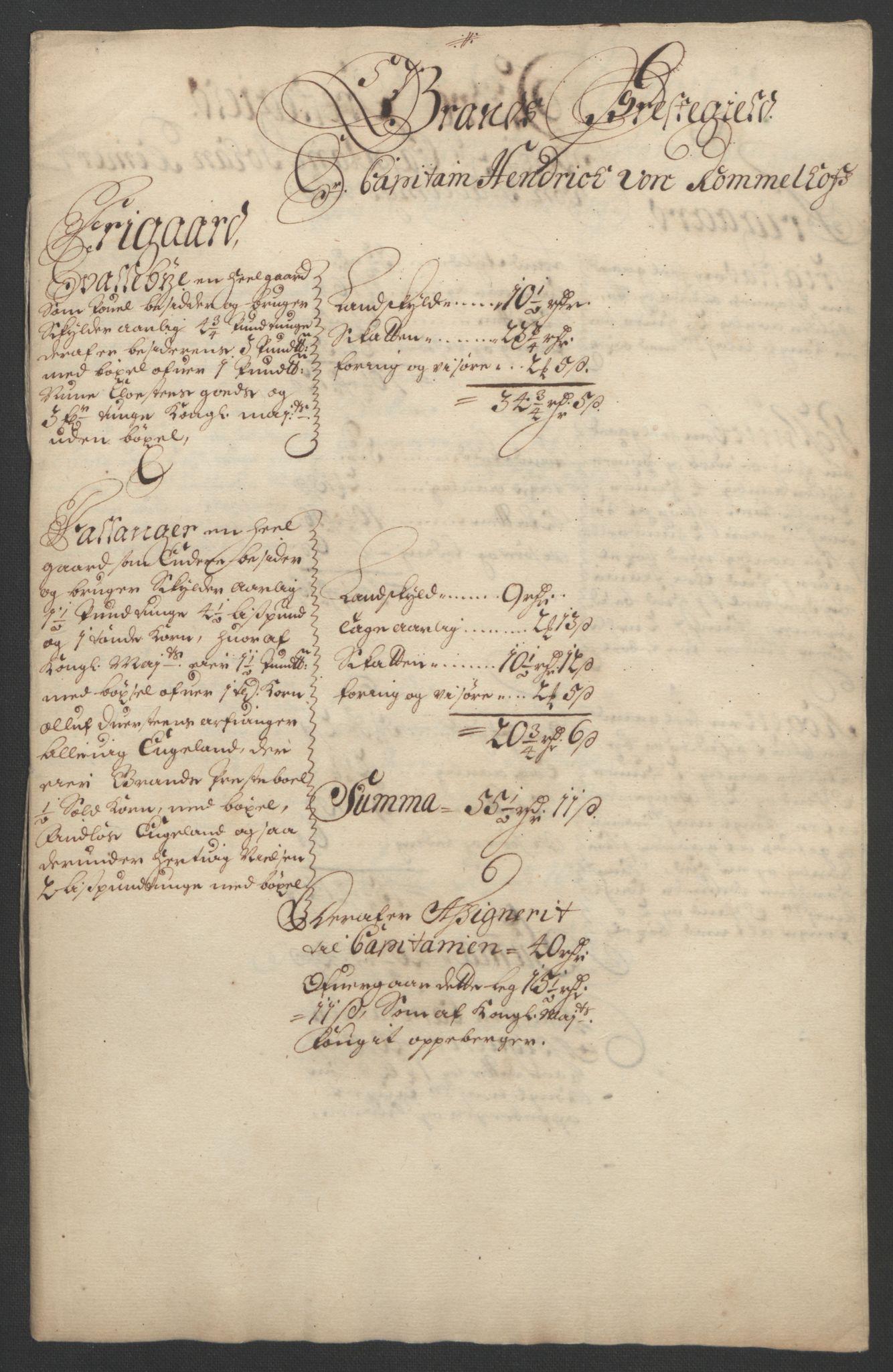 RA, Rentekammeret inntil 1814, Reviderte regnskaper, Fogderegnskap, R18/L1290: Fogderegnskap Hadeland, Toten og Valdres, 1691, s. 255