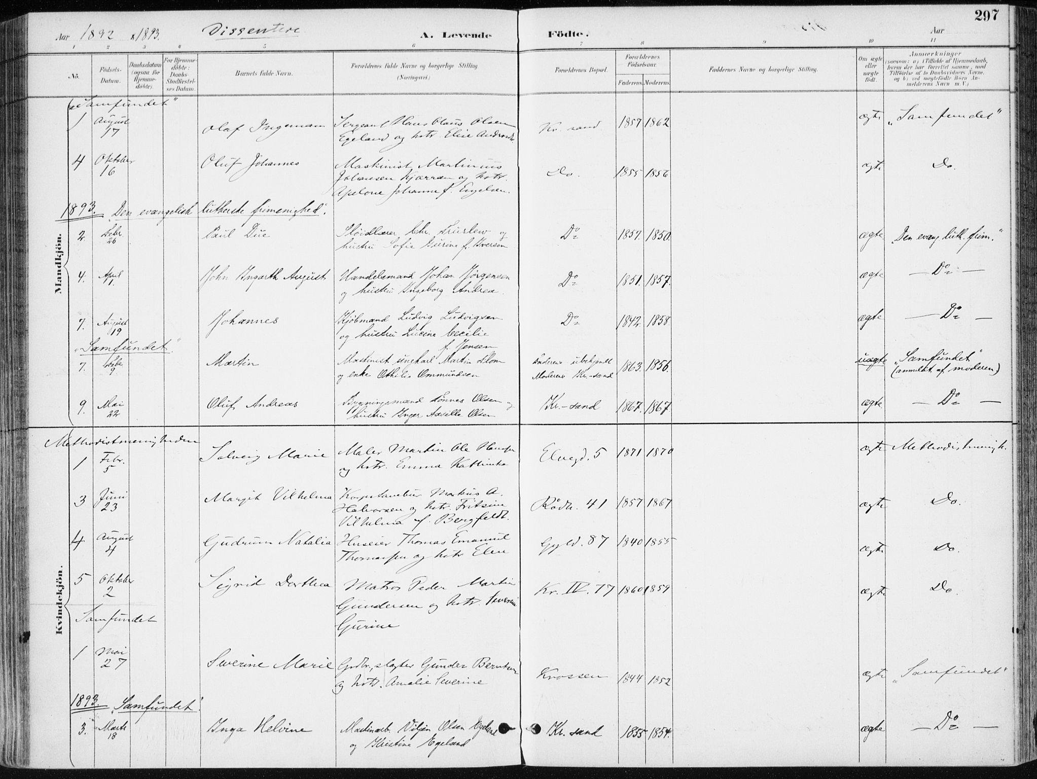 SAK, Kristiansand domprosti, F/Fa/L0019: Ministerialbok nr. A 18, 1890-1897, s. 297