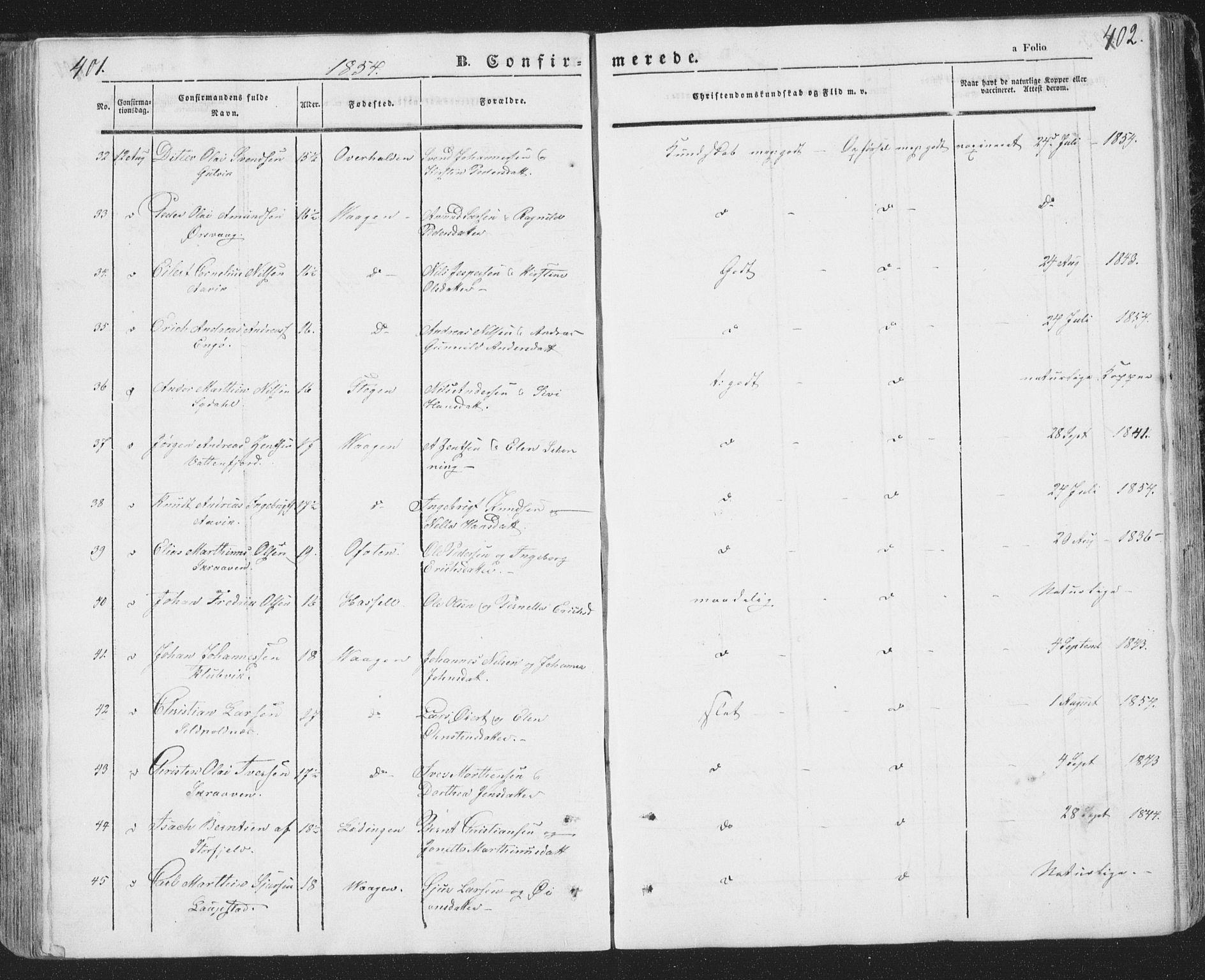 SAT, Ministerialprotokoller, klokkerbøker og fødselsregistre - Nordland, 874/L1072: Klokkerbok nr. 874C01, 1843-1859, s. 401-402