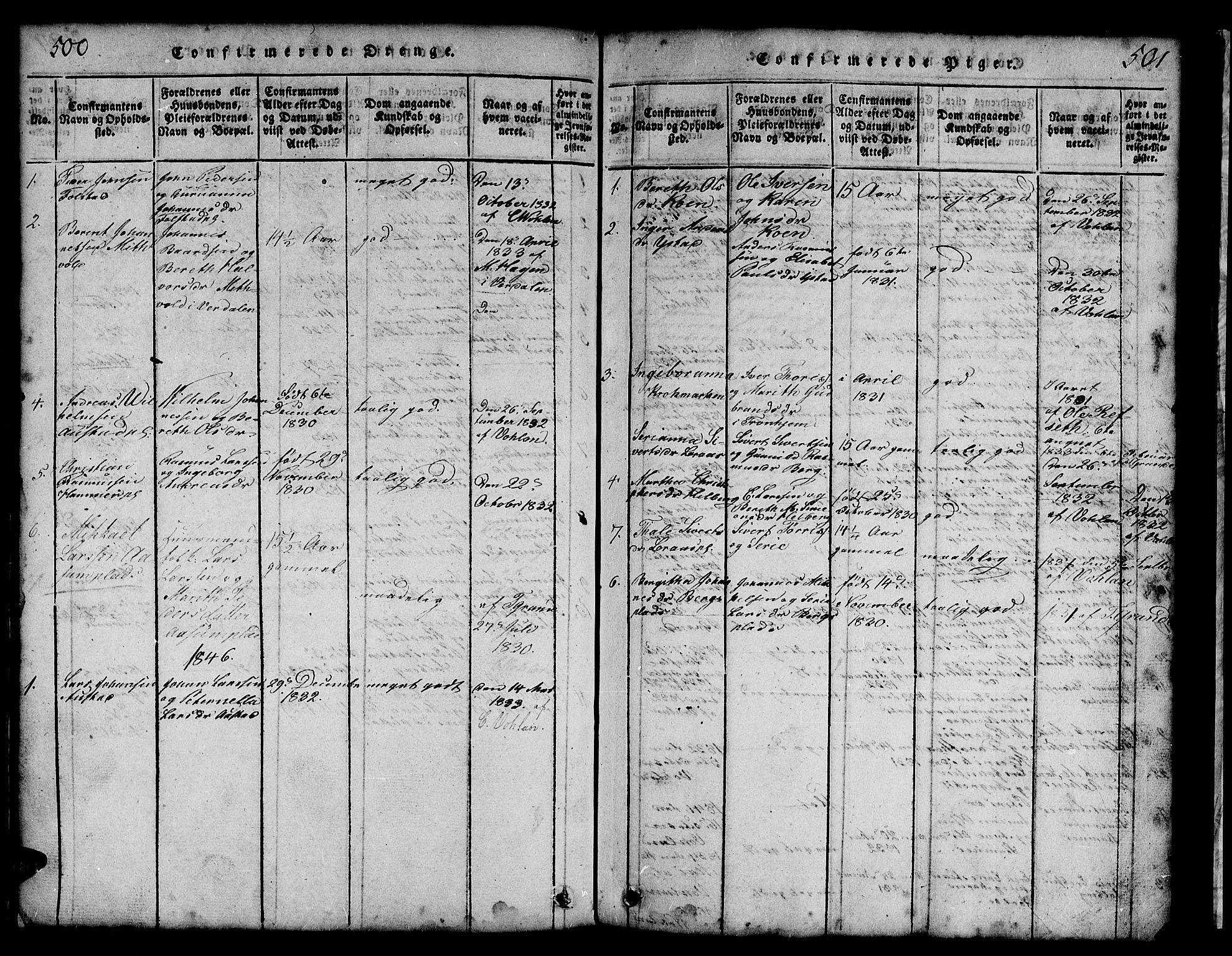SAT, Ministerialprotokoller, klokkerbøker og fødselsregistre - Nord-Trøndelag, 731/L0310: Klokkerbok nr. 731C01, 1816-1874, s. 500-501