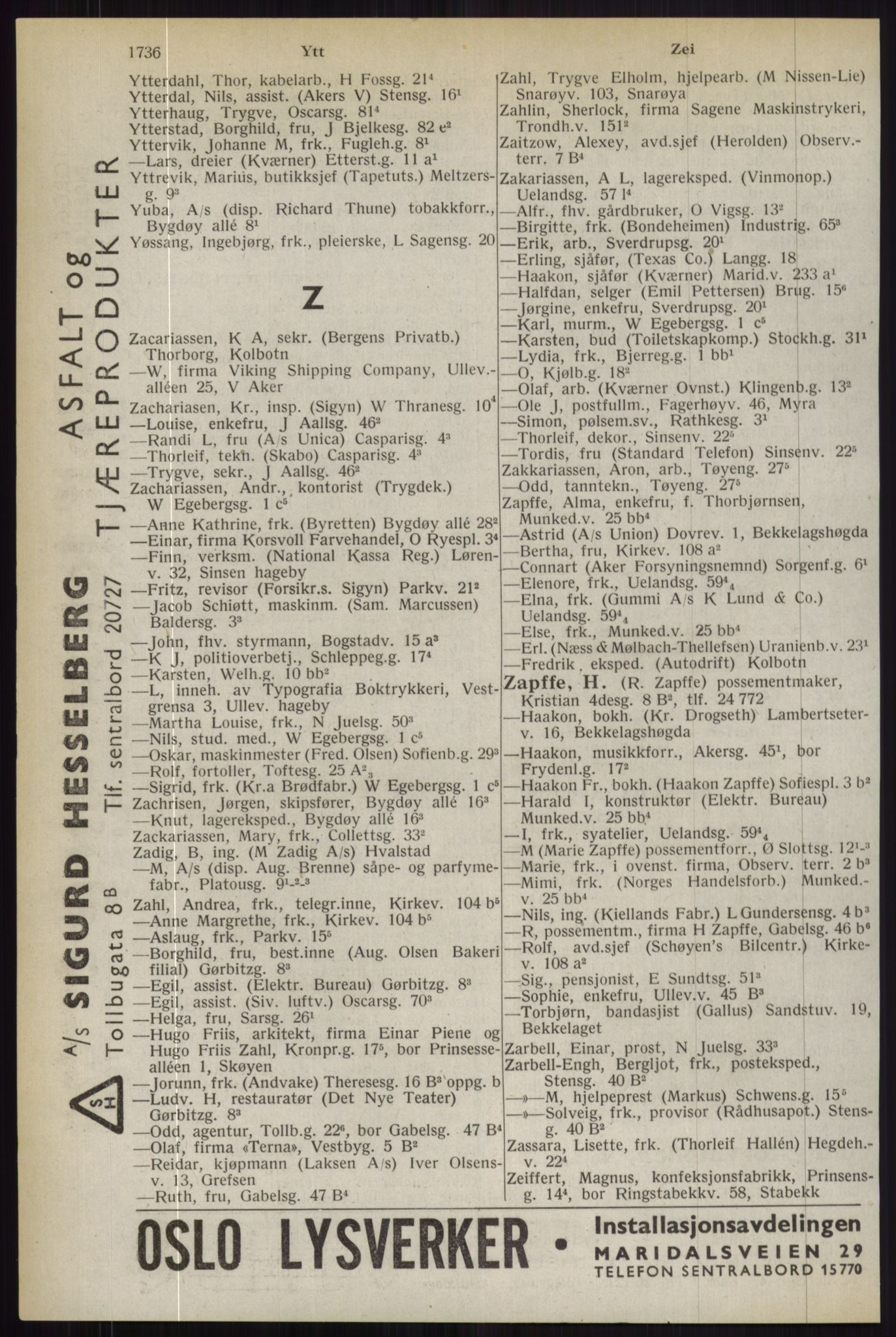 RA, Oslo adressebok (publikasjon)*, 1944, s. 1736