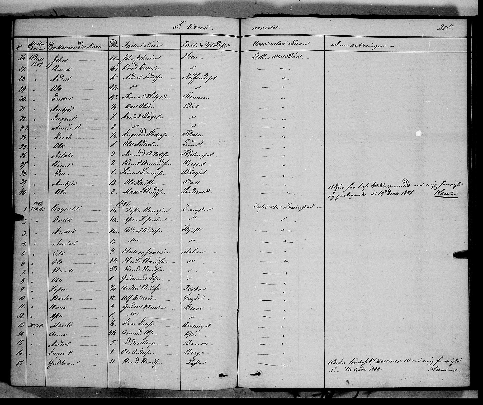 SAH, Vang prestekontor, Valdres, Ministerialbok nr. 6, 1846-1864, s. 205