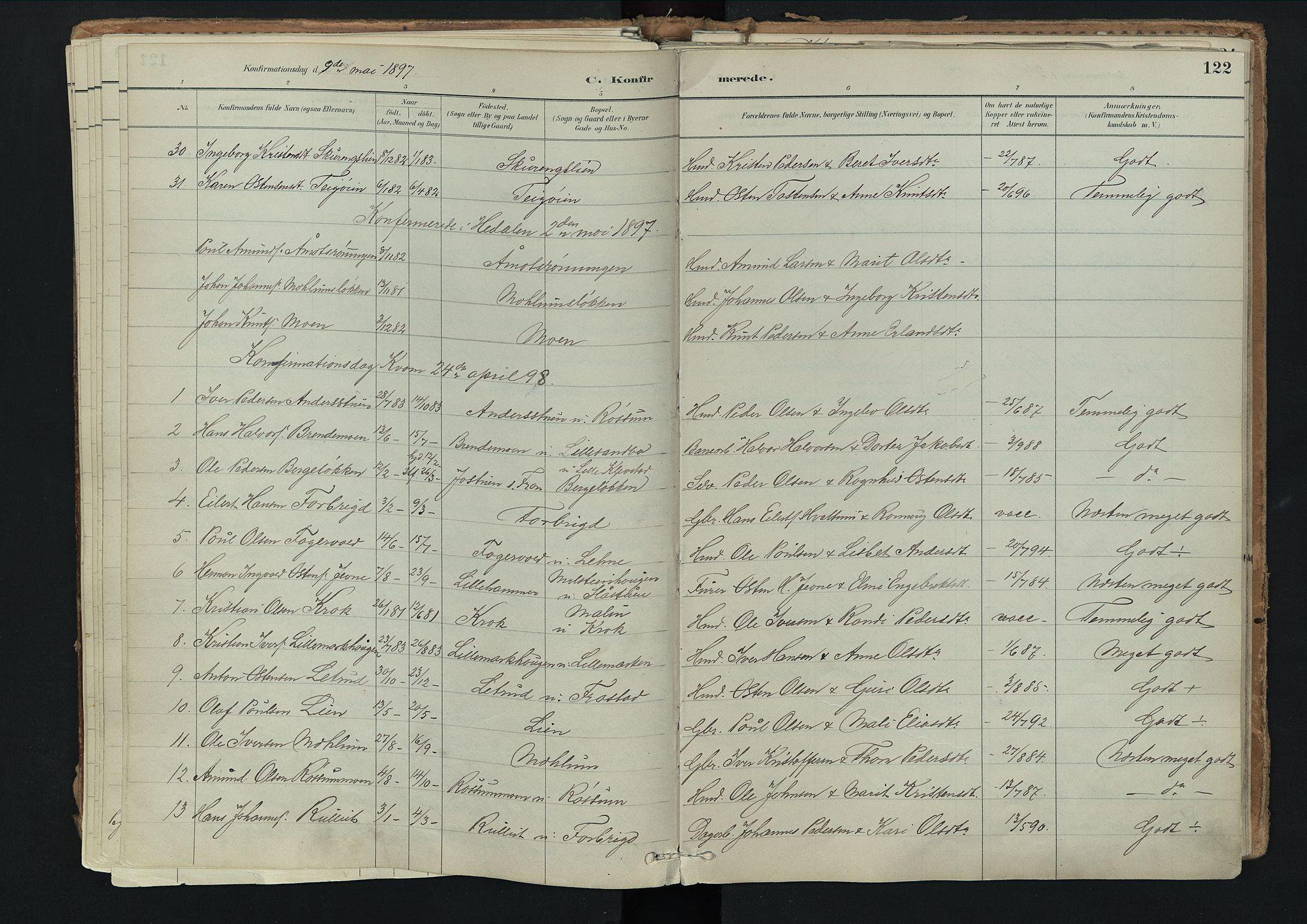 SAH, Nord-Fron prestekontor, Ministerialbok nr. 3, 1884-1914, s. 122