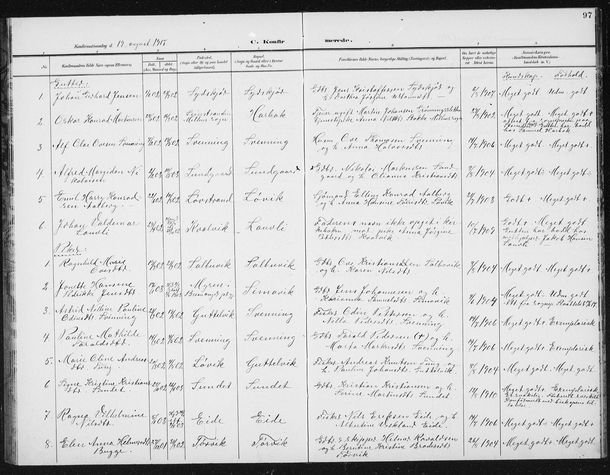 SAT, Ministerialprotokoller, klokkerbøker og fødselsregistre - Sør-Trøndelag, 656/L0699: Klokkerbok nr. 656C05, 1905-1920, s. 97