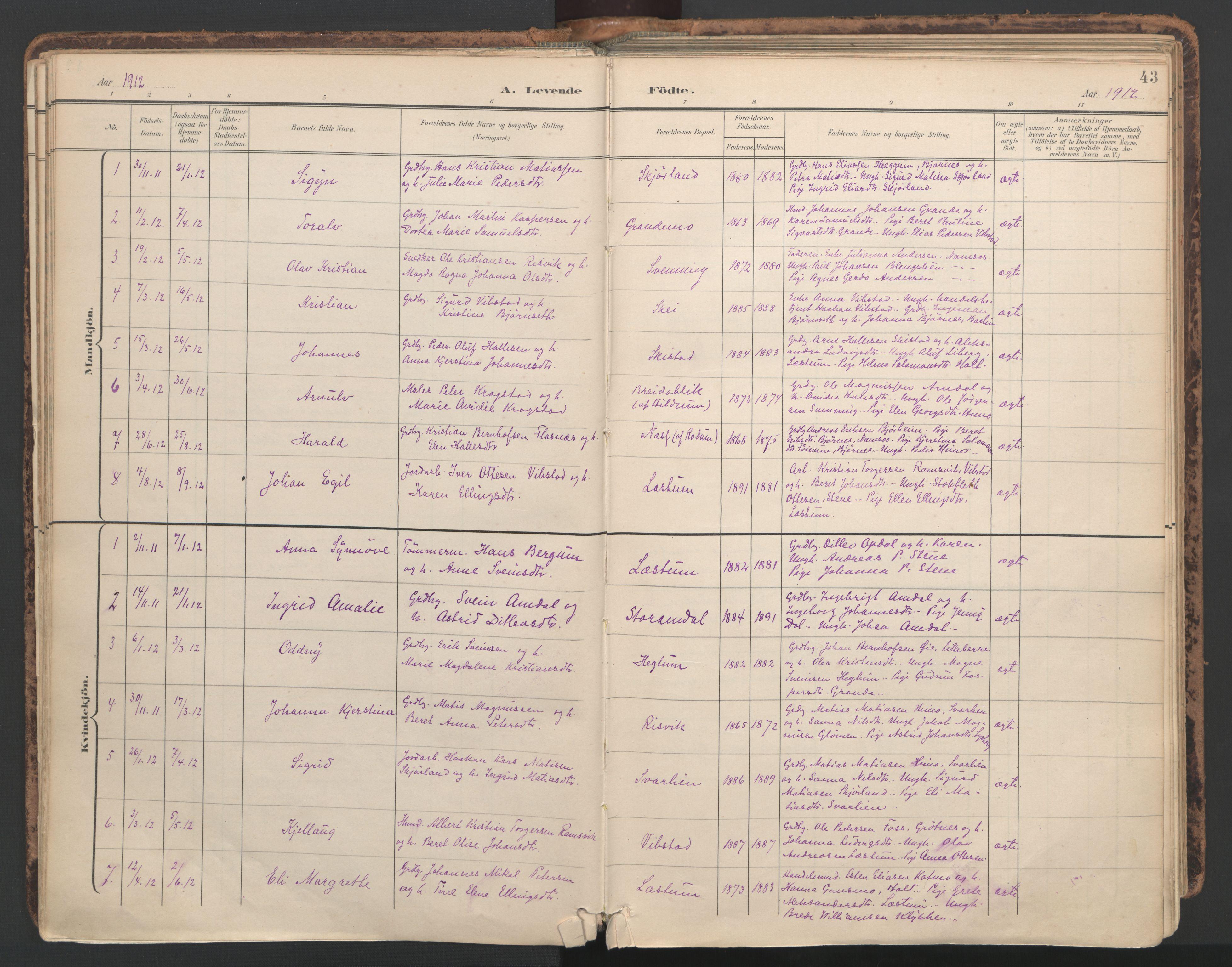SAT, Ministerialprotokoller, klokkerbøker og fødselsregistre - Nord-Trøndelag, 764/L0556: Ministerialbok nr. 764A11, 1897-1924, s. 43