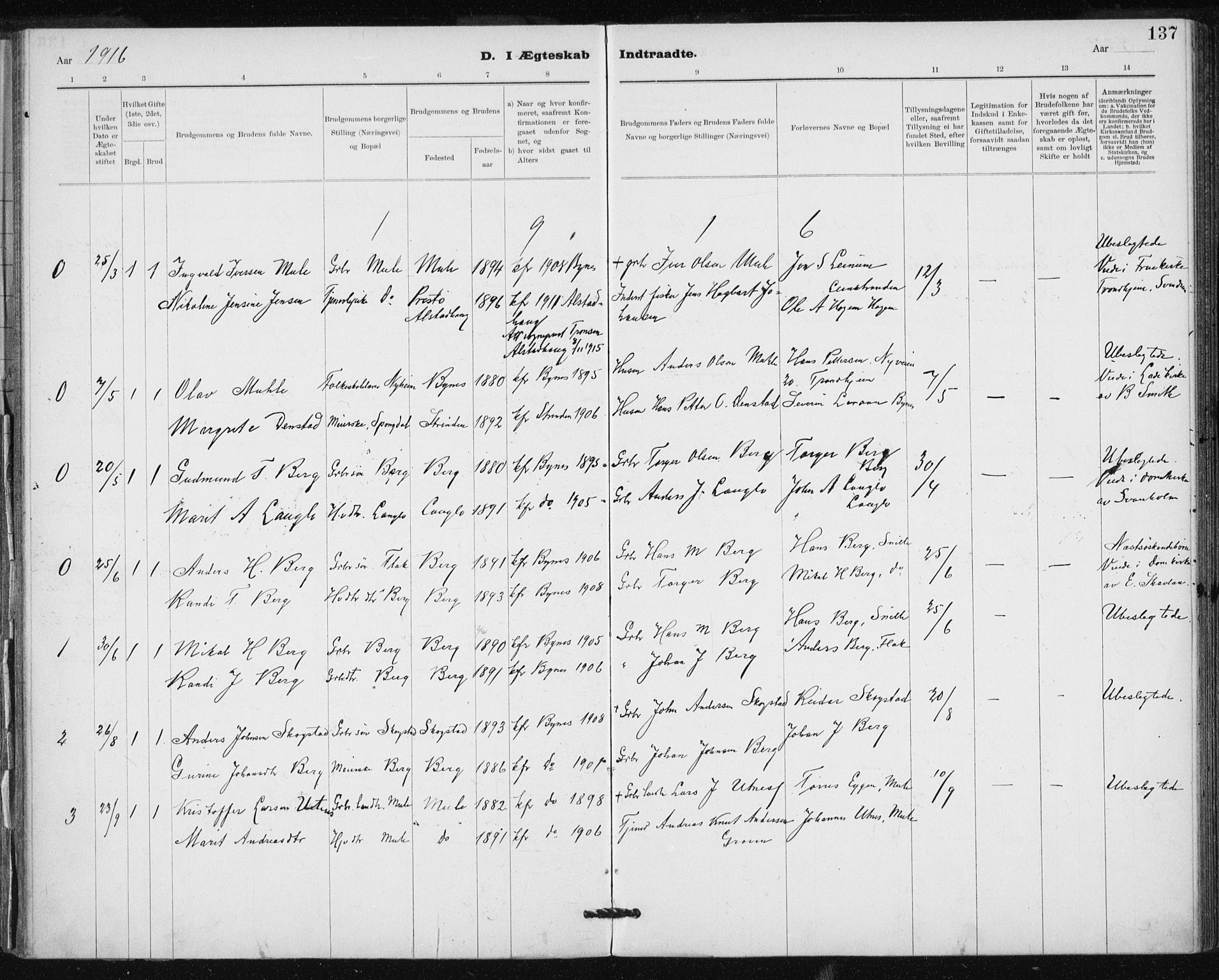 SAT, Ministerialprotokoller, klokkerbøker og fødselsregistre - Sør-Trøndelag, 612/L0381: Ministerialbok nr. 612A13, 1907-1923, s. 137
