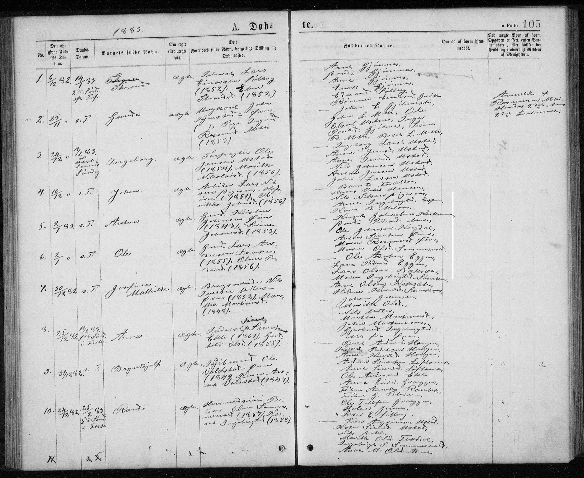 SAT, Ministerialprotokoller, klokkerbøker og fødselsregistre - Sør-Trøndelag, 668/L0817: Klokkerbok nr. 668C06, 1873-1884, s. 105
