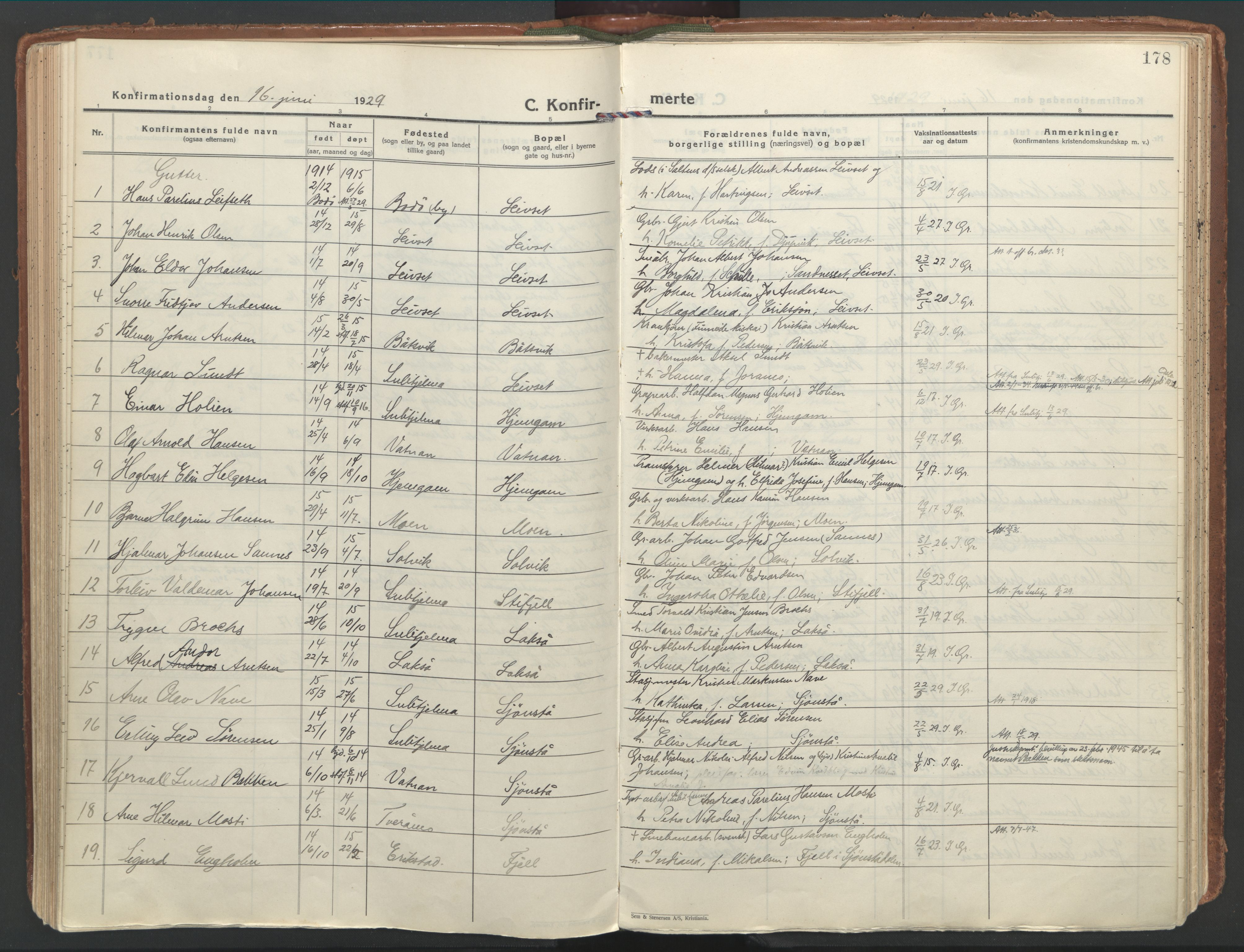SAT, Ministerialprotokoller, klokkerbøker og fødselsregistre - Nordland, 849/L0699: Ministerialbok nr. 849A10, 1924-1937, s. 178