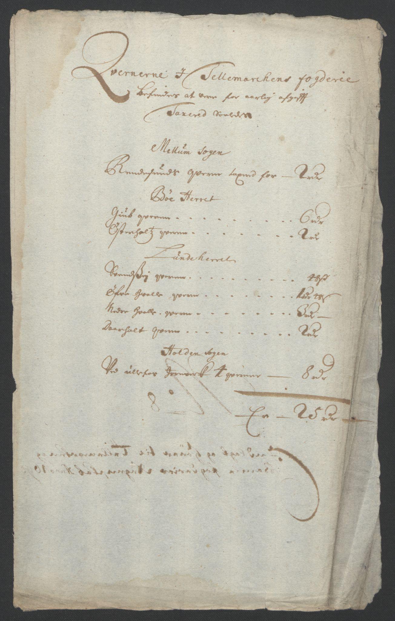 RA, Rentekammeret inntil 1814, Reviderte regnskaper, Fogderegnskap, R36/L2093: Fogderegnskap Øvre og Nedre Telemark og Bamble, 1695, s. 293