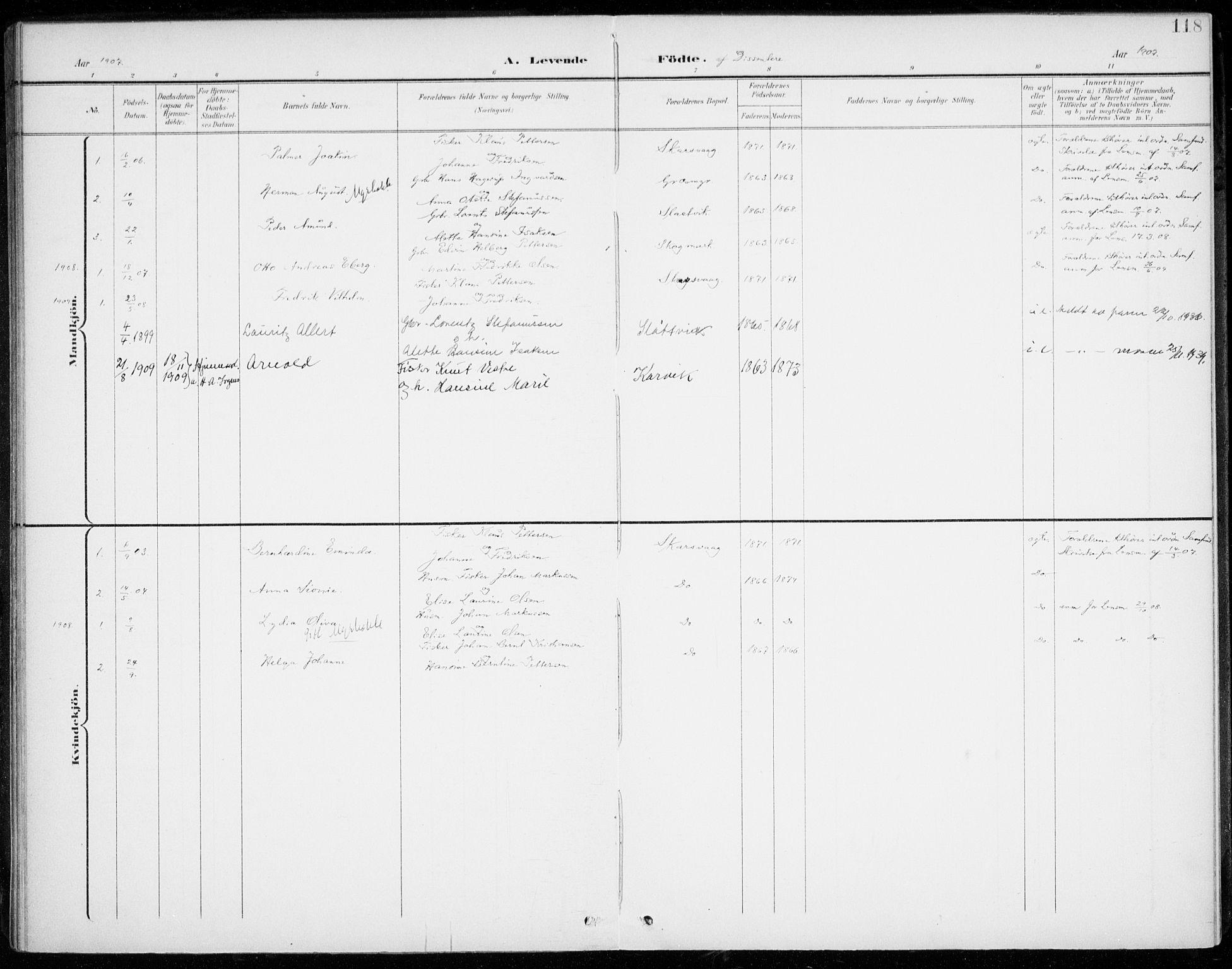 SATØ, Lenvik sokneprestembete, H/Ha: Ministerialbok nr. 14, 1899-1909, s. 118