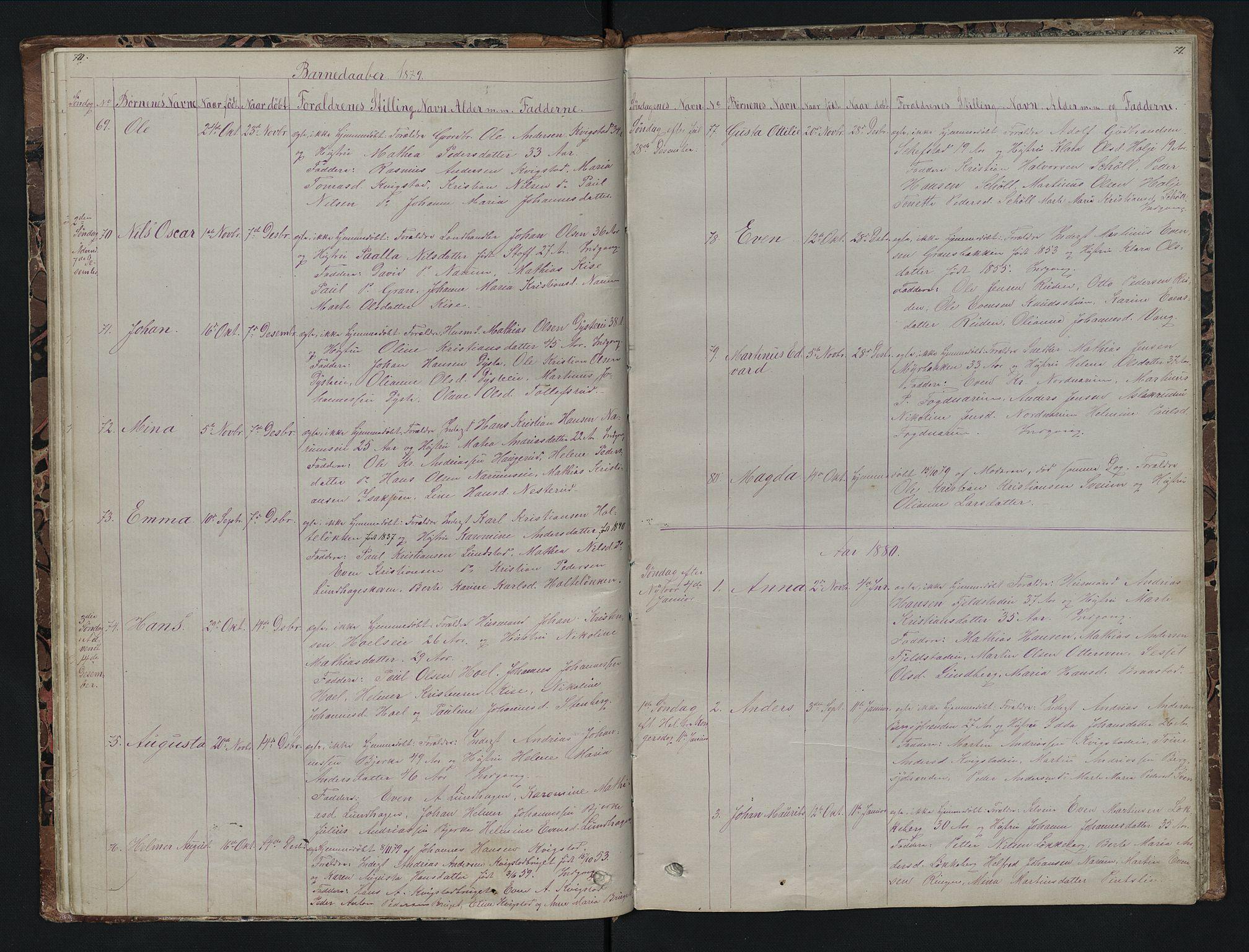 SAH, Vestre Toten prestekontor, Klokkerbok nr. 7, 1872-1900, s. 70-71