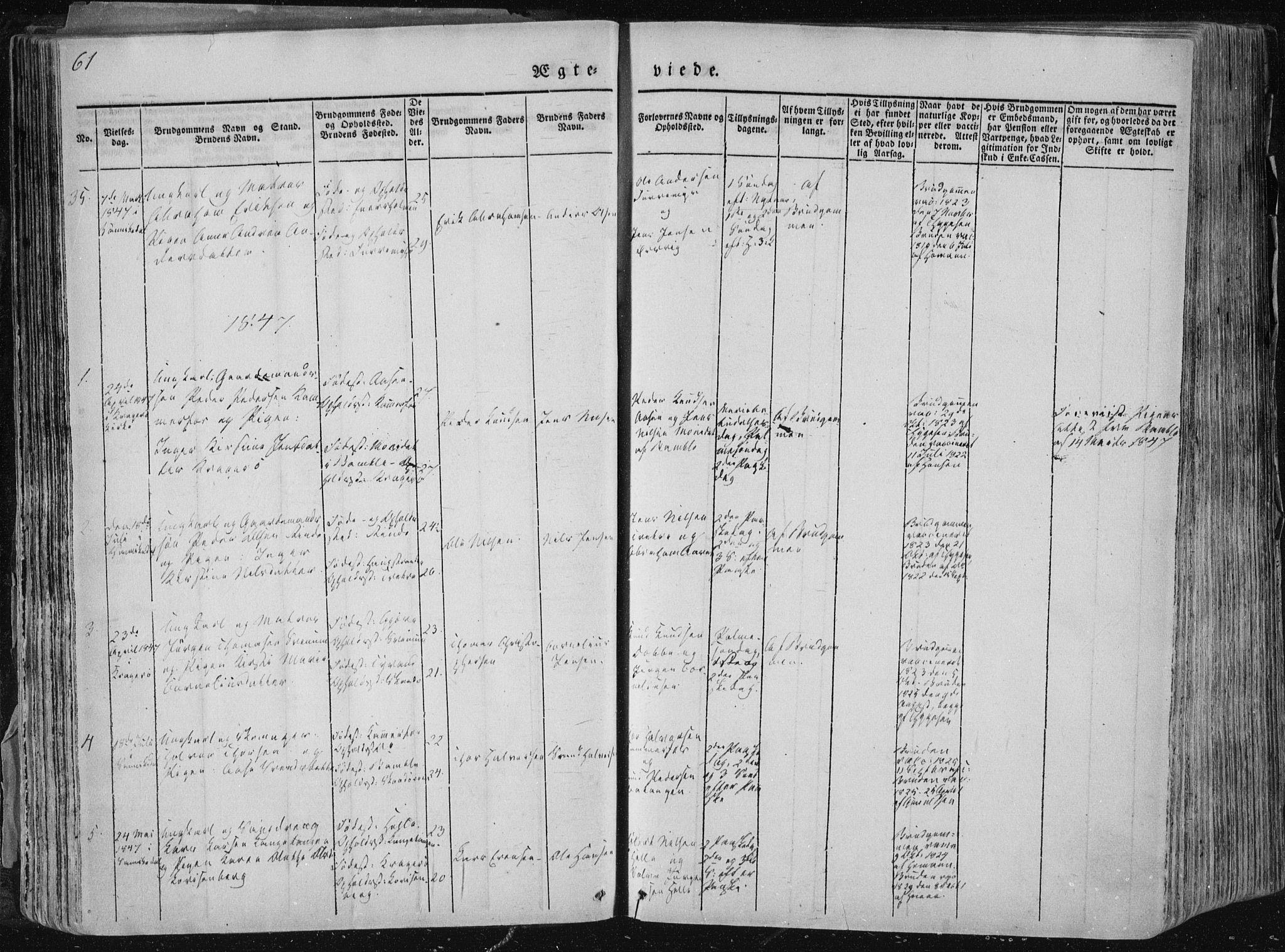 SAKO, Sannidal kirkebøker, F/Fa/L0007: Ministerialbok nr. 7, 1831-1854, s. 61