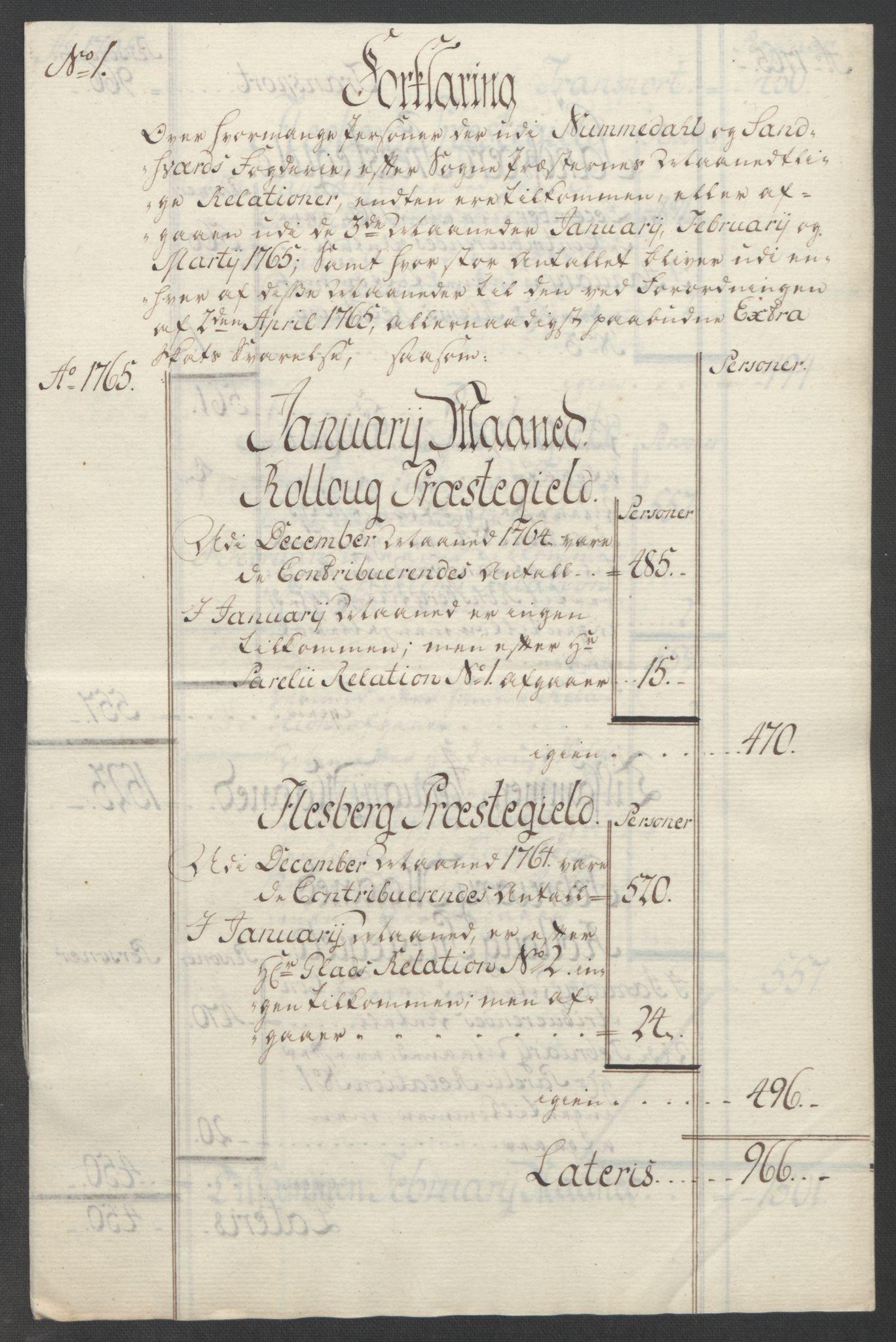 RA, Rentekammeret inntil 1814, Reviderte regnskaper, Fogderegnskap, R24/L1672: Ekstraskatten Numedal og Sandsvær, 1762-1767, s. 264