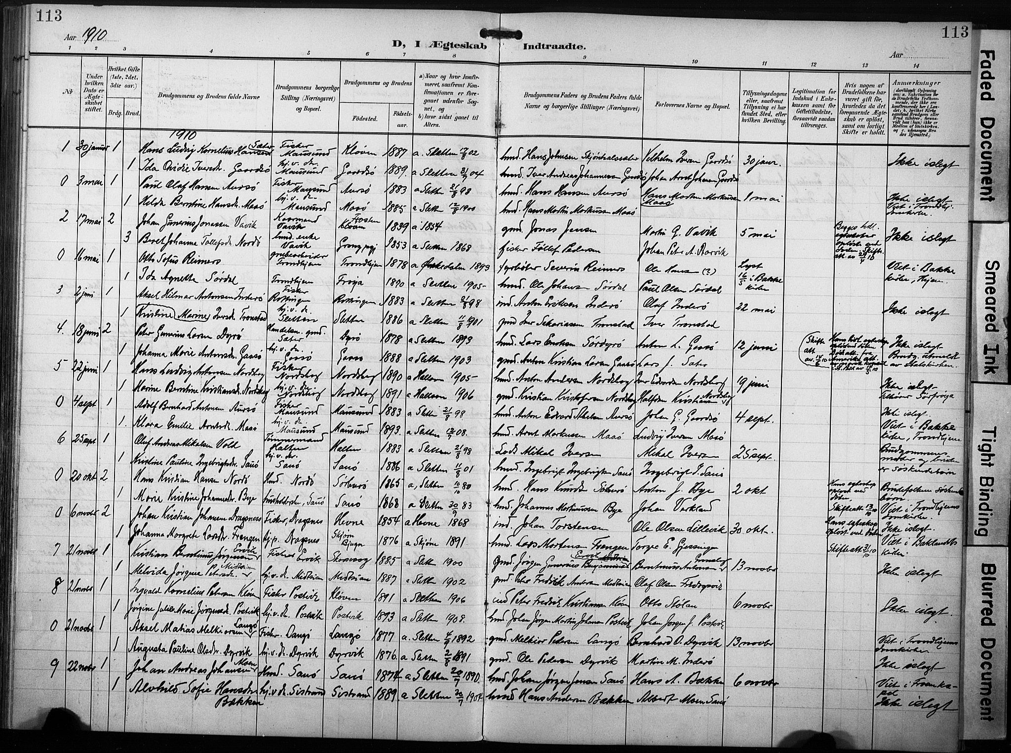 SAT, Ministerialprotokoller, klokkerbøker og fødselsregistre - Sør-Trøndelag, 640/L0580: Ministerialbok nr. 640A05, 1902-1910, s. 113