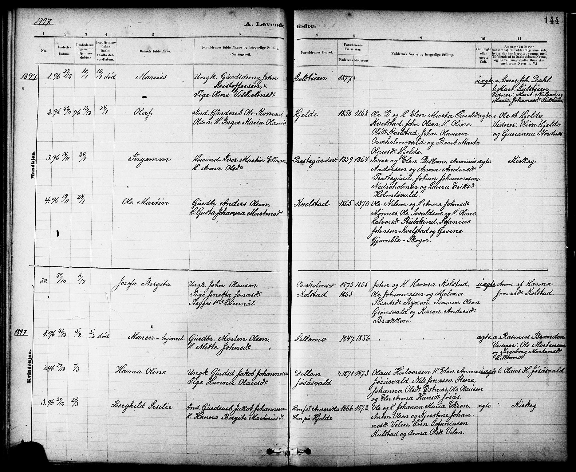 SAT, Ministerialprotokoller, klokkerbøker og fødselsregistre - Nord-Trøndelag, 724/L0267: Klokkerbok nr. 724C03, 1879-1898, s. 144