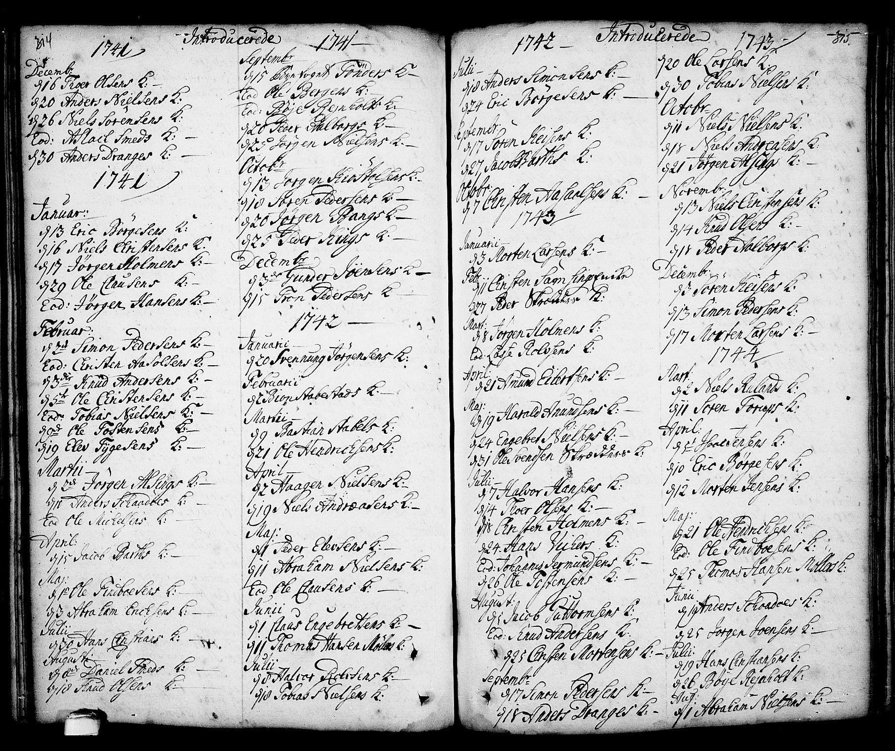 SAKO, Kragerø kirkebøker, F/Fa/L0001: Ministerialbok nr. 1, 1702-1766, s. 314-315