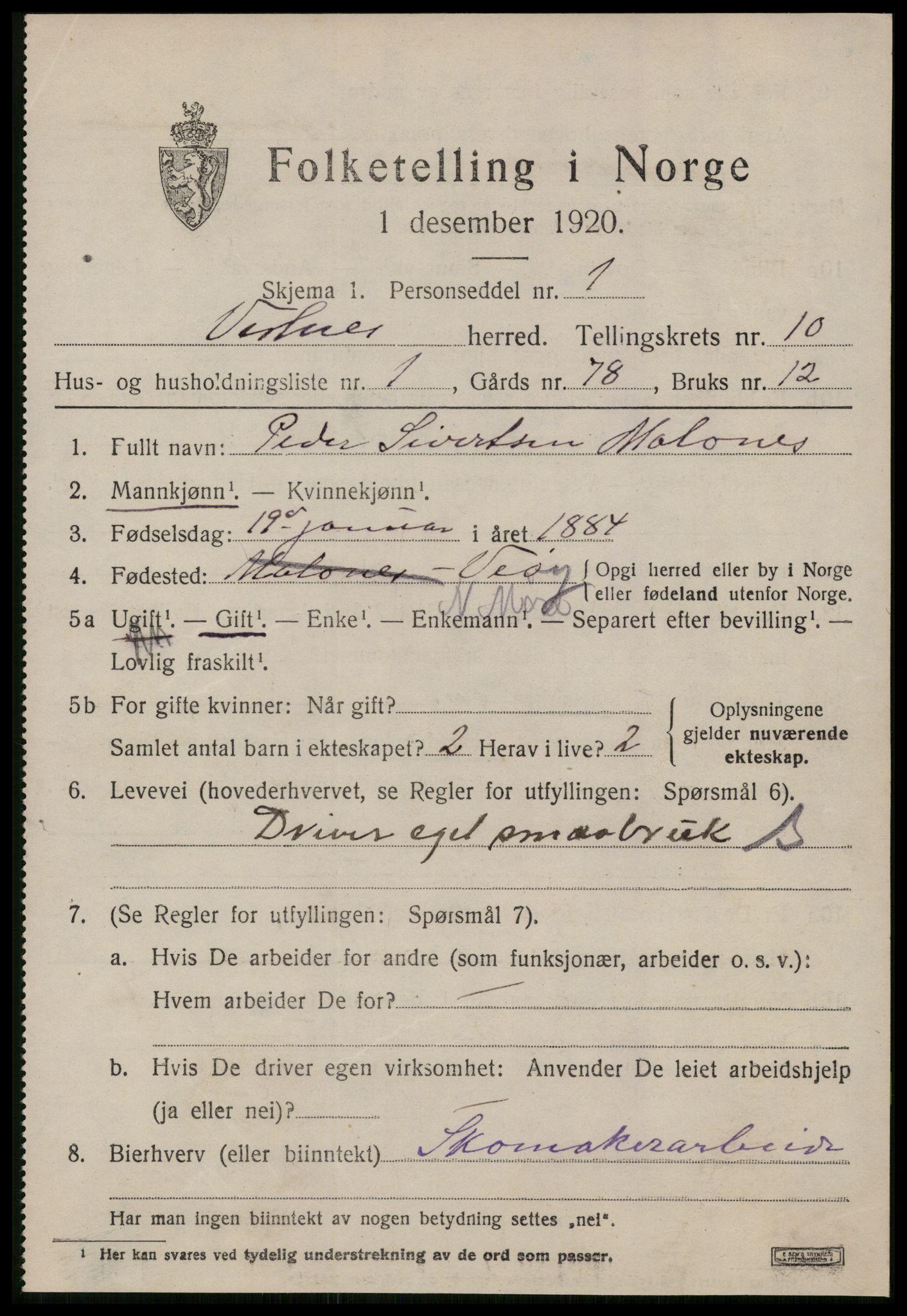 SAT, Folketelling 1920 for 1535 Vestnes herred, 1920, s. 6491
