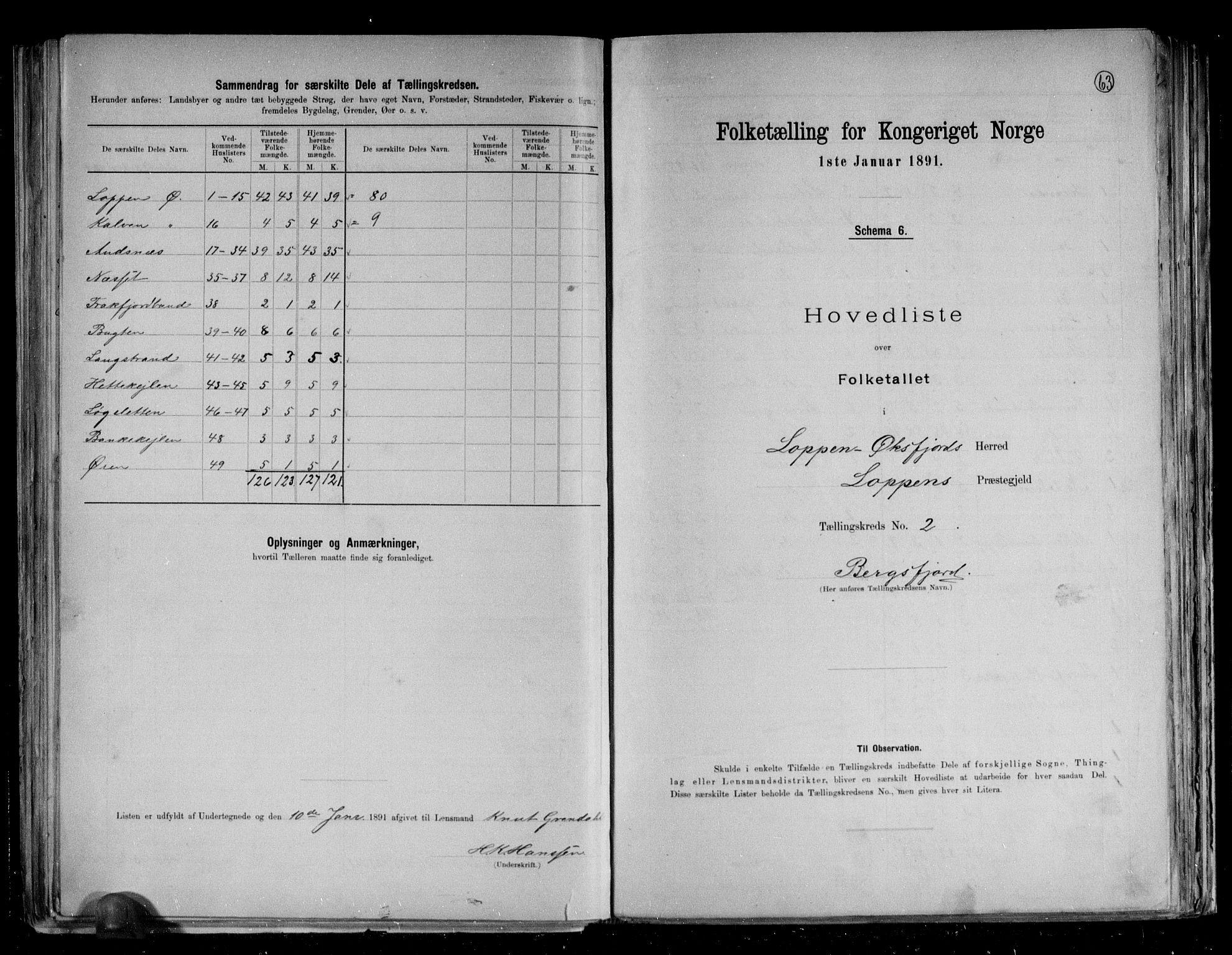RA, Folketelling 1891 for 2014 Loppa herred, 1891, s. 7