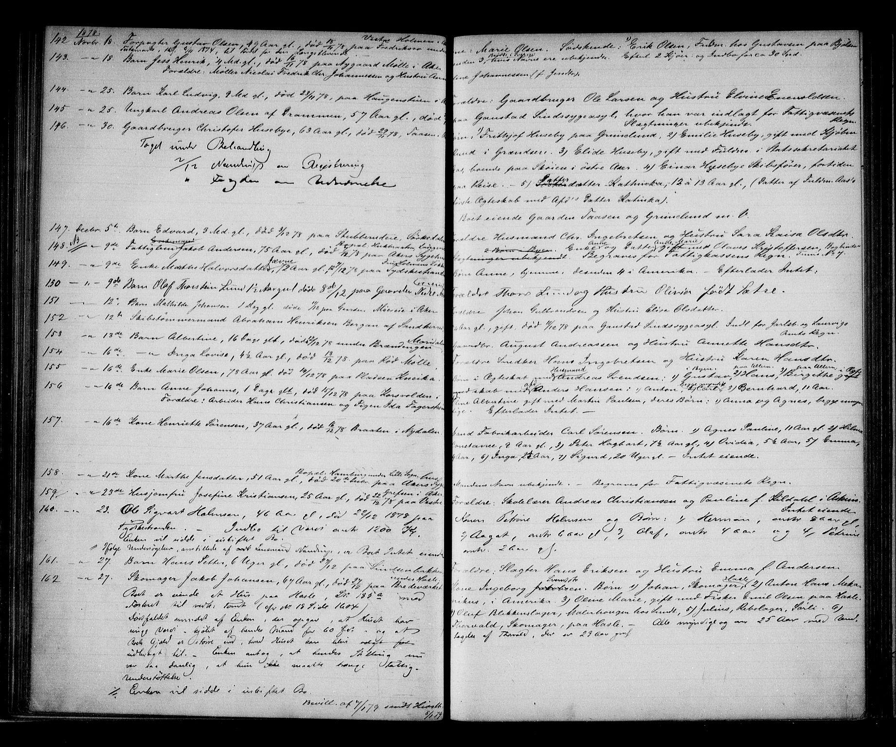 SAO, Aker sorenskriveri, H/Ha/Haa/L0006: Dødsanmeldelsesprotokoll, 1876-1886, s. upaginert