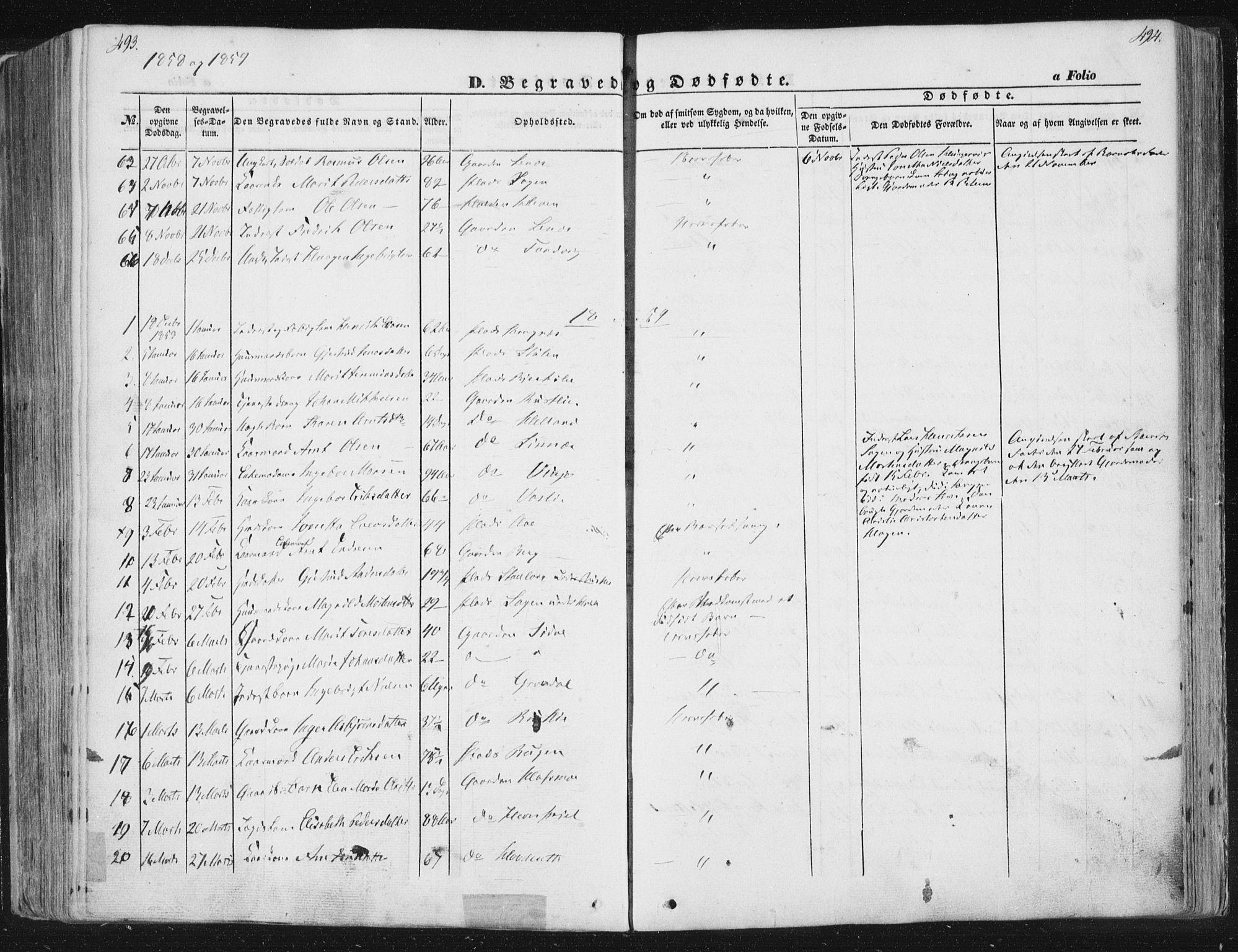 SAT, Ministerialprotokoller, klokkerbøker og fødselsregistre - Sør-Trøndelag, 630/L0494: Ministerialbok nr. 630A07, 1852-1868, s. 493-494
