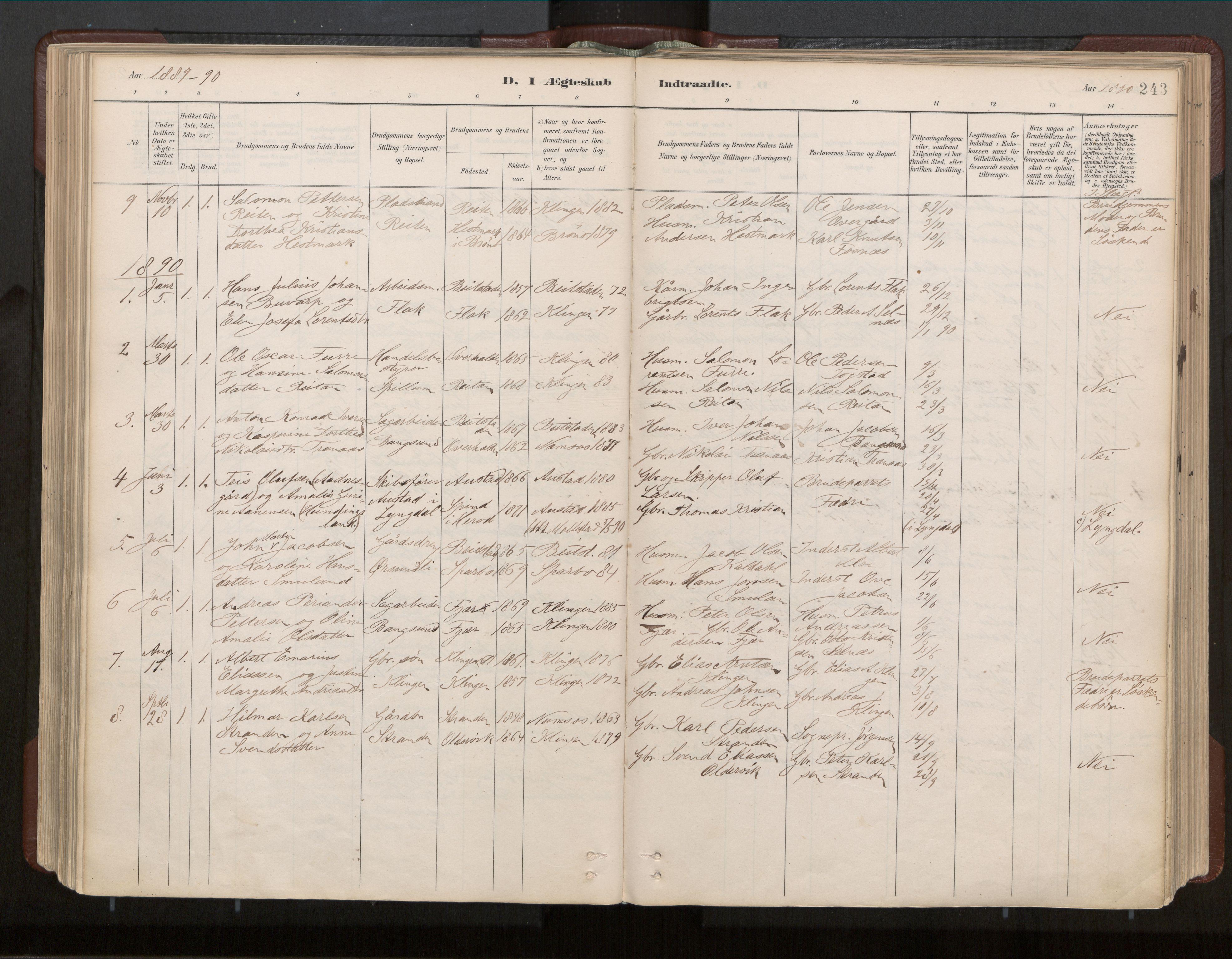 SAT, Ministerialprotokoller, klokkerbøker og fødselsregistre - Nord-Trøndelag, 770/L0589: Ministerialbok nr. 770A03, 1887-1929, s. 243