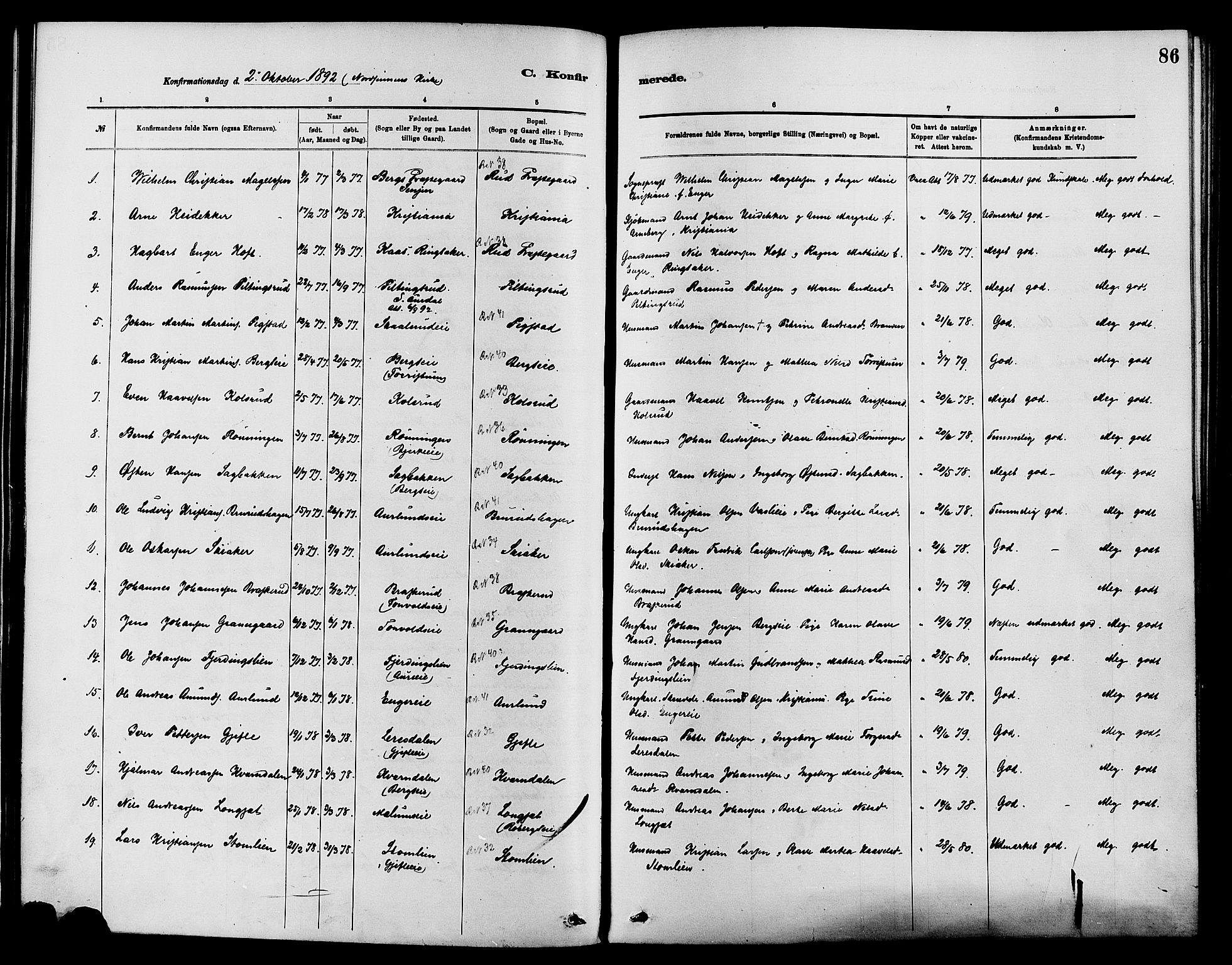 SAH, Nordre Land prestekontor, Ministerialbok nr. 3, 1882-1896, s. 86