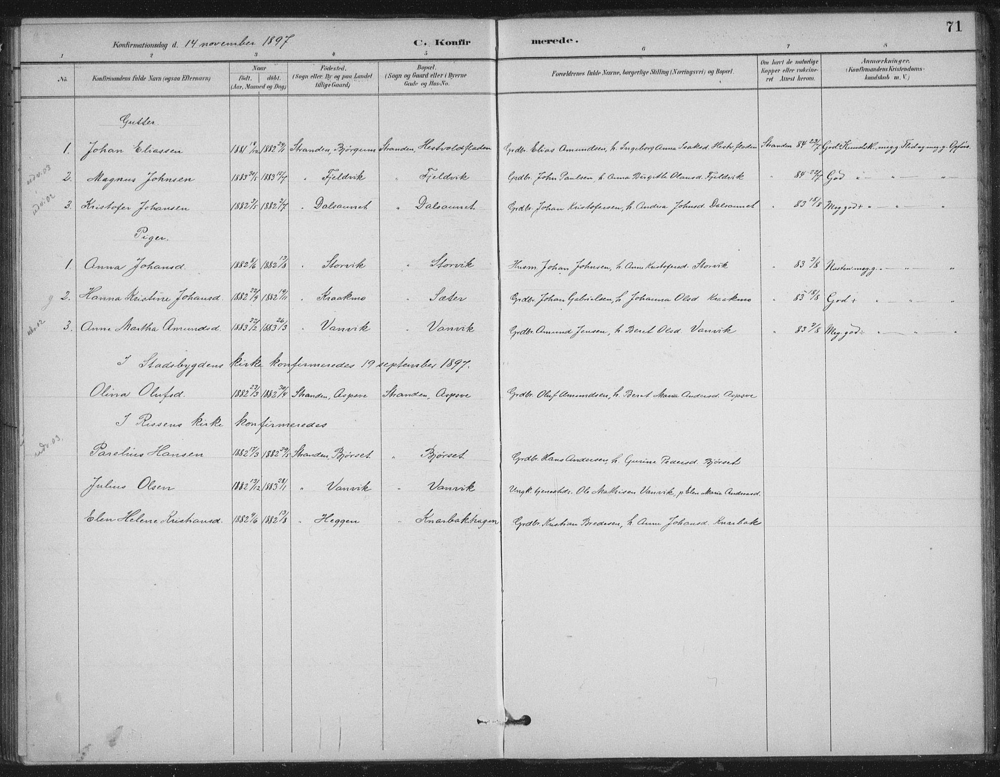SAT, Ministerialprotokoller, klokkerbøker og fødselsregistre - Nord-Trøndelag, 702/L0023: Ministerialbok nr. 702A01, 1883-1897, s. 71