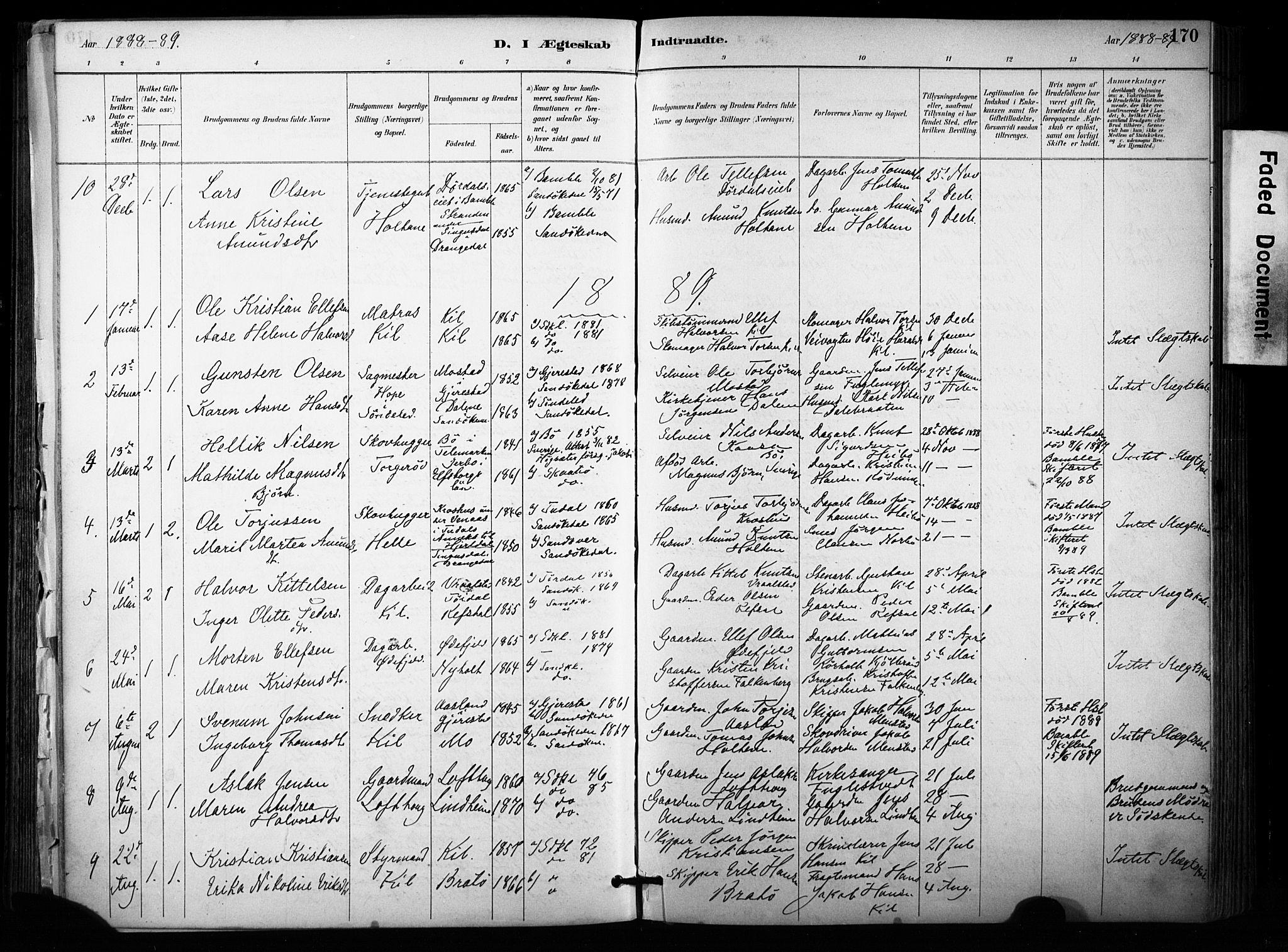 SAKO, Sannidal kirkebøker, F/Fa/L0015: Ministerialbok nr. 15, 1884-1899, s. 170