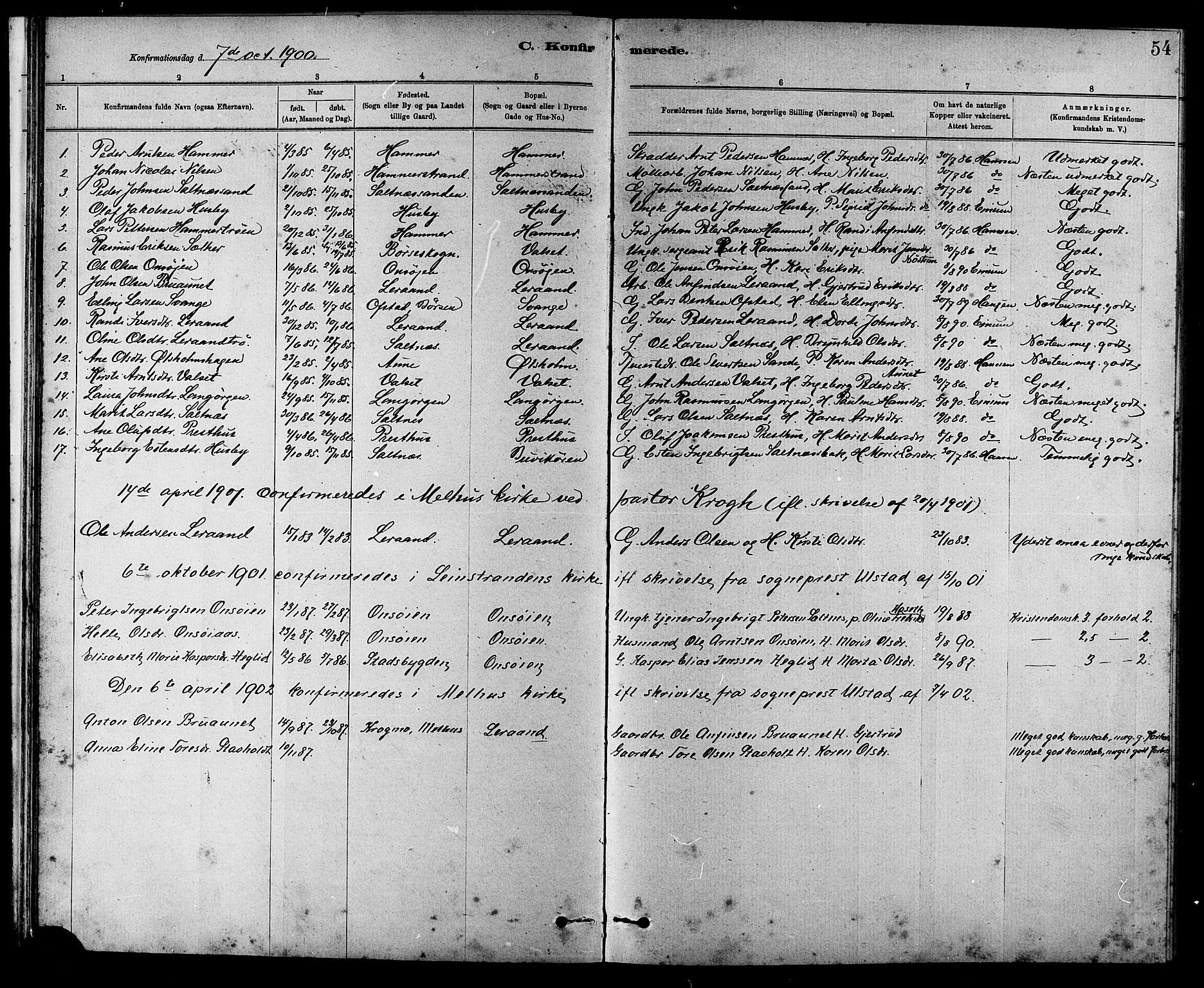 SAT, Ministerialprotokoller, klokkerbøker og fødselsregistre - Sør-Trøndelag, 666/L0790: Klokkerbok nr. 666C03, 1885-1908, s. 54