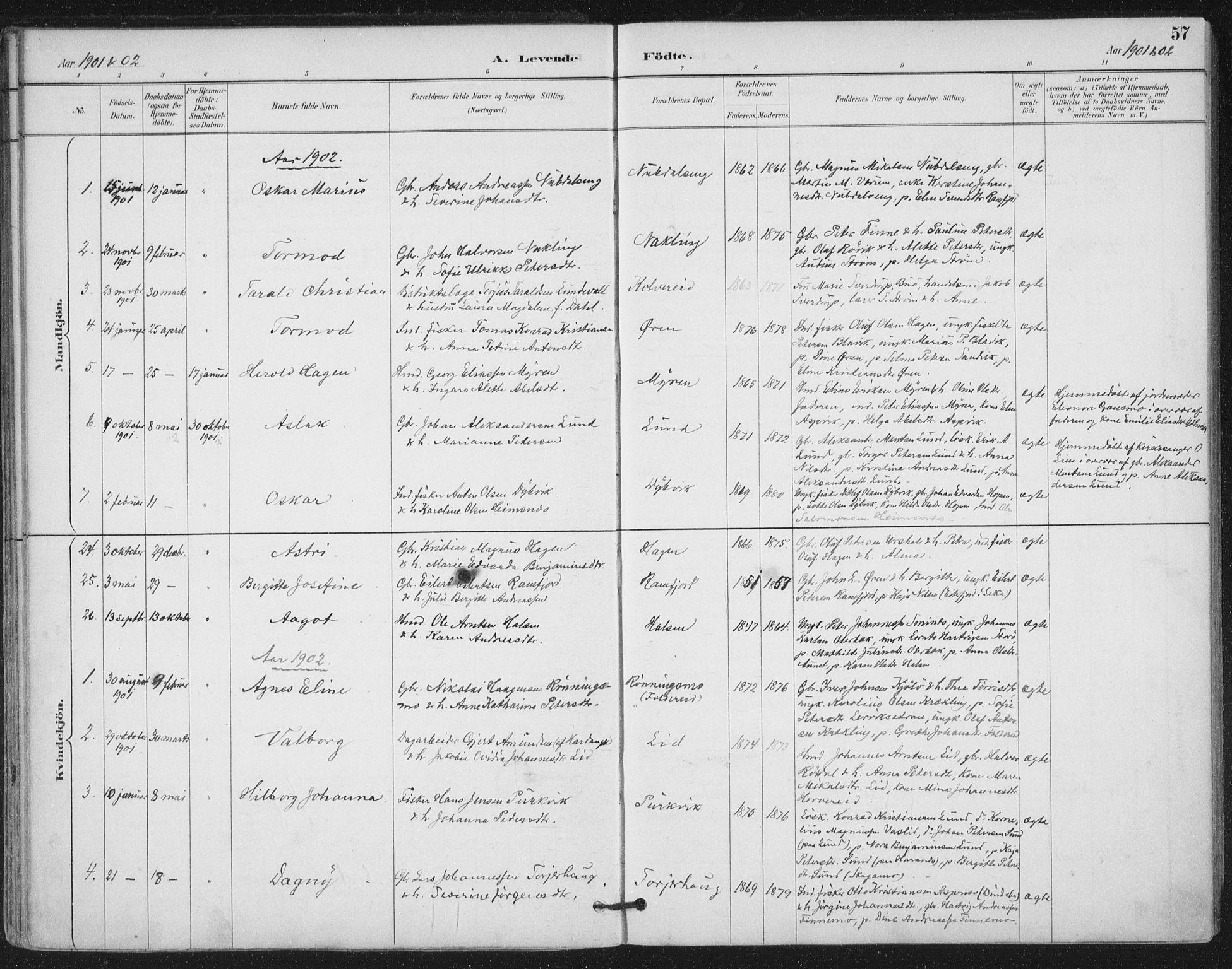 SAT, Ministerialprotokoller, klokkerbøker og fødselsregistre - Nord-Trøndelag, 780/L0644: Ministerialbok nr. 780A08, 1886-1903, s. 57