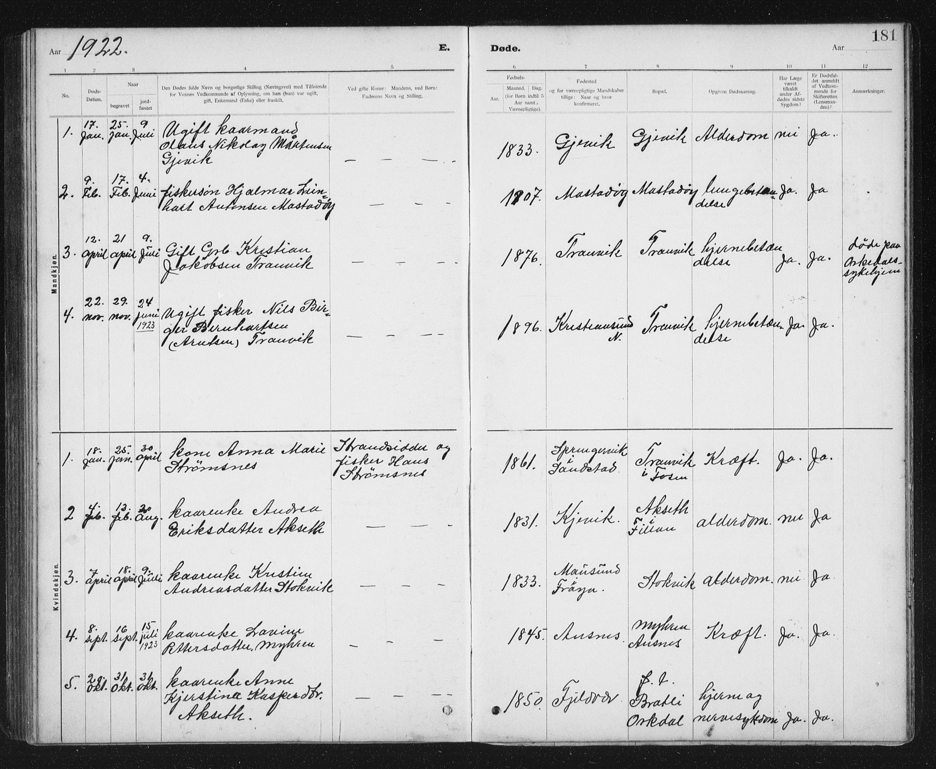 SAT, Ministerialprotokoller, klokkerbøker og fødselsregistre - Sør-Trøndelag, 637/L0563: Klokkerbok nr. 637C04, 1899-1940, s. 181