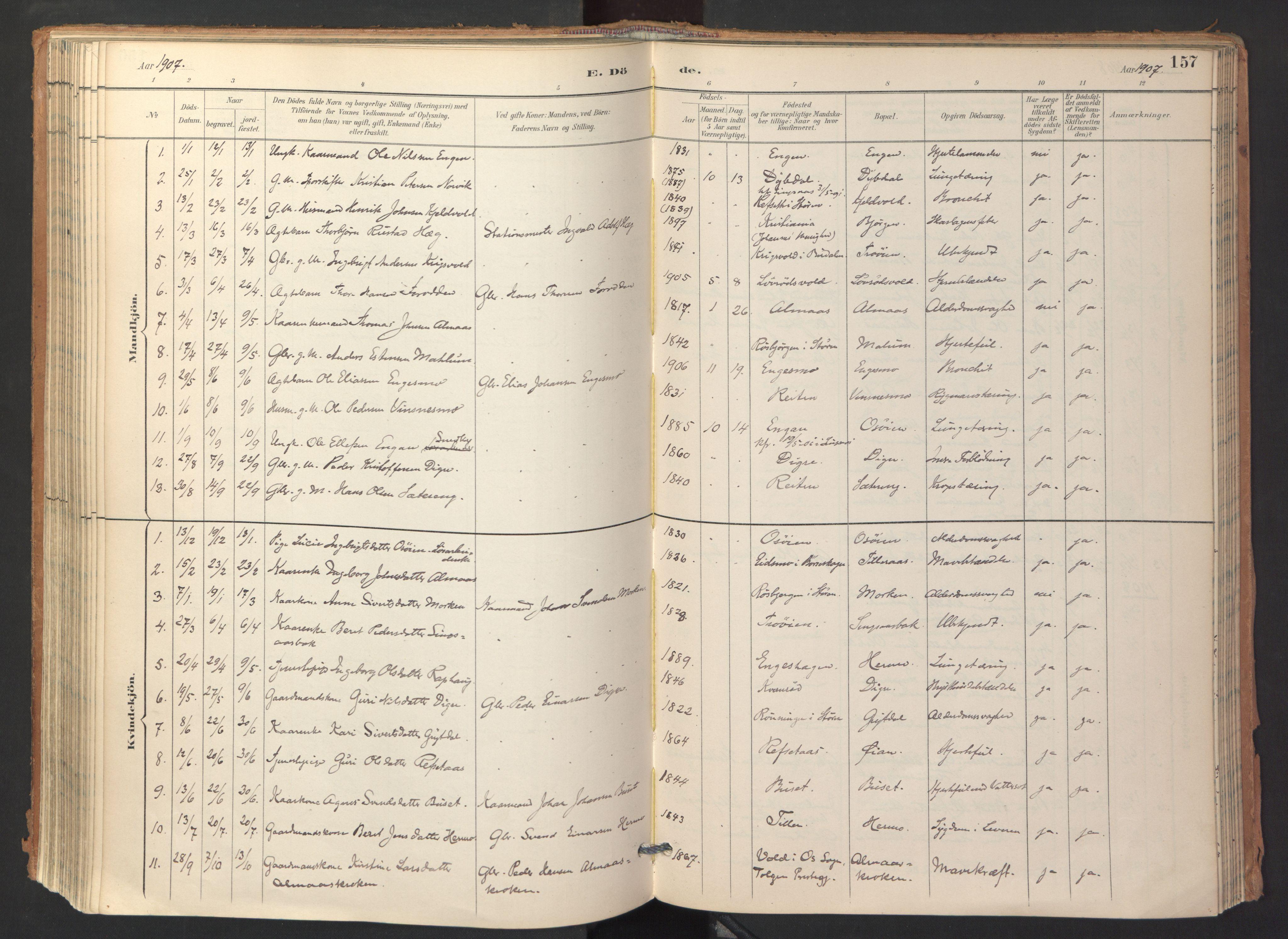 SAT, Ministerialprotokoller, klokkerbøker og fødselsregistre - Sør-Trøndelag, 688/L1025: Ministerialbok nr. 688A02, 1891-1909, s. 157