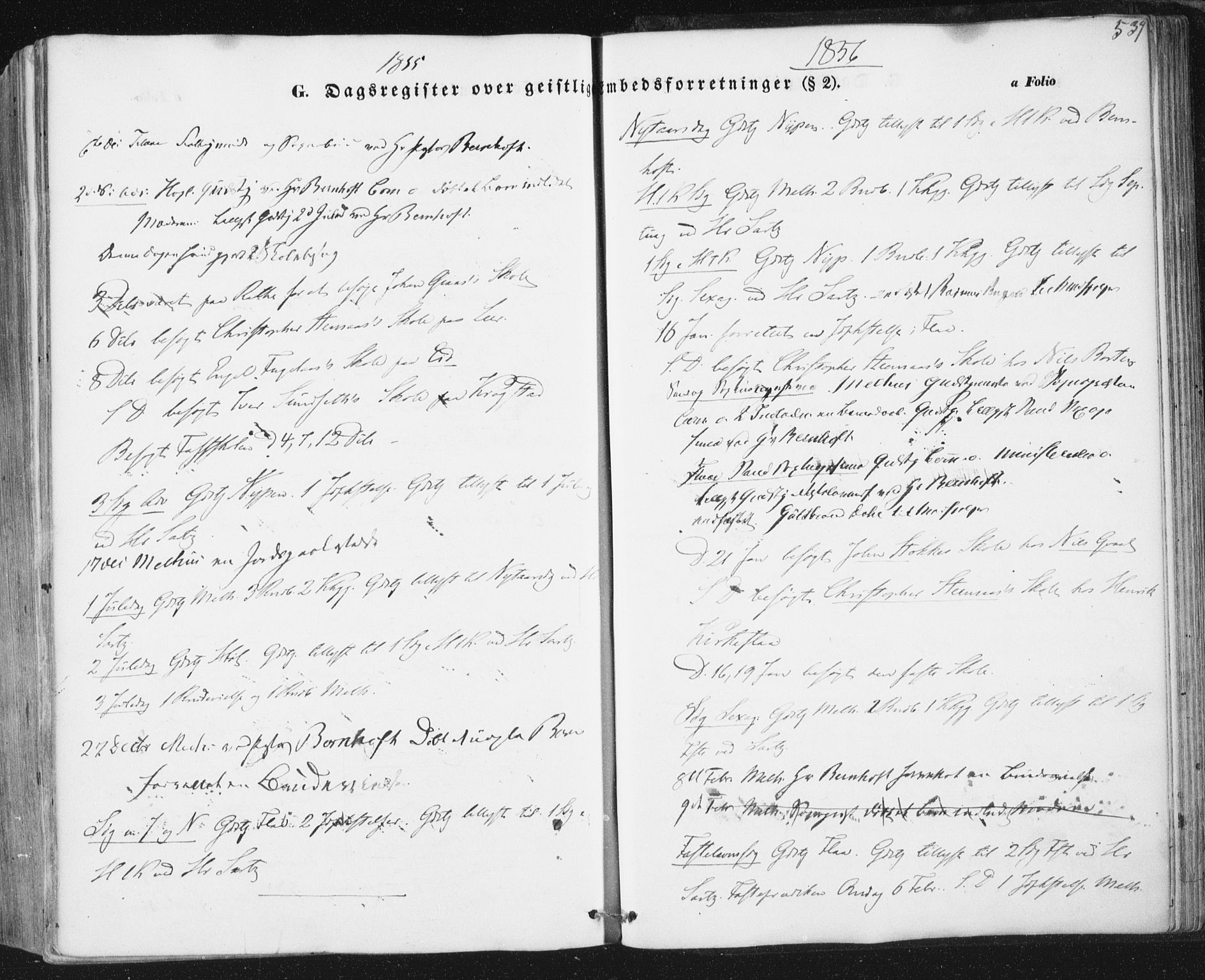SAT, Ministerialprotokoller, klokkerbøker og fødselsregistre - Sør-Trøndelag, 691/L1076: Ministerialbok nr. 691A08, 1852-1861, s. 539